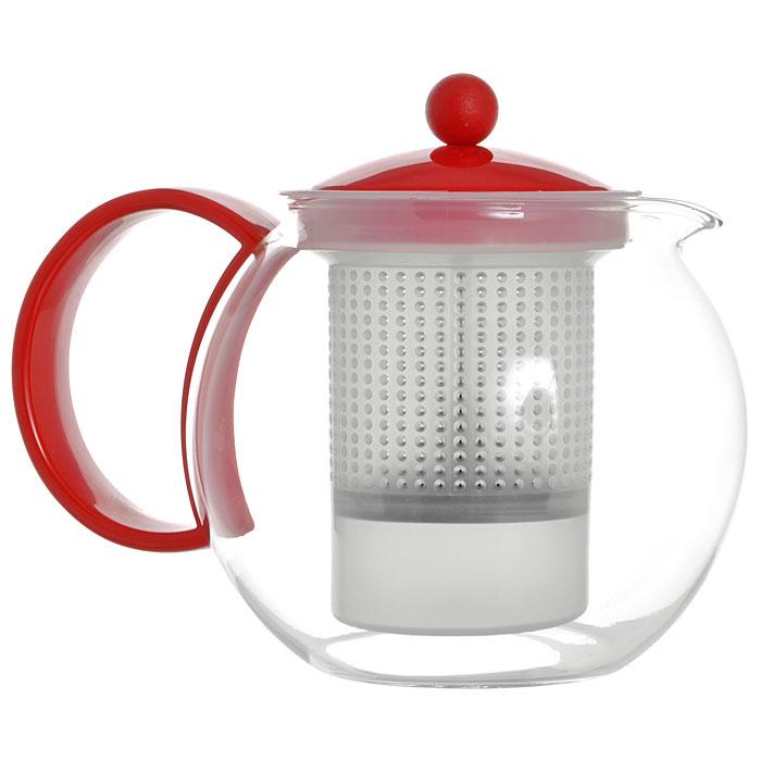 Френч-пресс Bodum Assam, цвет: красный, 1 л. 1844-29454 009312Френч-пресс Bodum Assam, выполненный из стекла, пластика и нержавеющей стали, практичный и простой в использовании. Он займет достойное место на вашей кухне и позволит вам заварить свежий, ароматный чай. Засыпая чайную заварку в фильтр-сетку и заливая ее горячей водой, вы получаете ароматный чай с оптимальной крепостью и насыщенностью. Остановить процесс заварки чая легко. Для этого нужно просто опустить поршень, и заварка уйдет вниз, оставляя вверху напиток, готовый к употреблению. Современный дизайн полностью соответствует последним модным тенденциям в создании предметов бытовой техники.Диаметр френч-пресса по верхнему краю (без учета носика и ручки): 9,5 см.Максимальный диаметр френч-пресса: 15 см.Высота френч-пресса (с учетом крышки): 15 см.