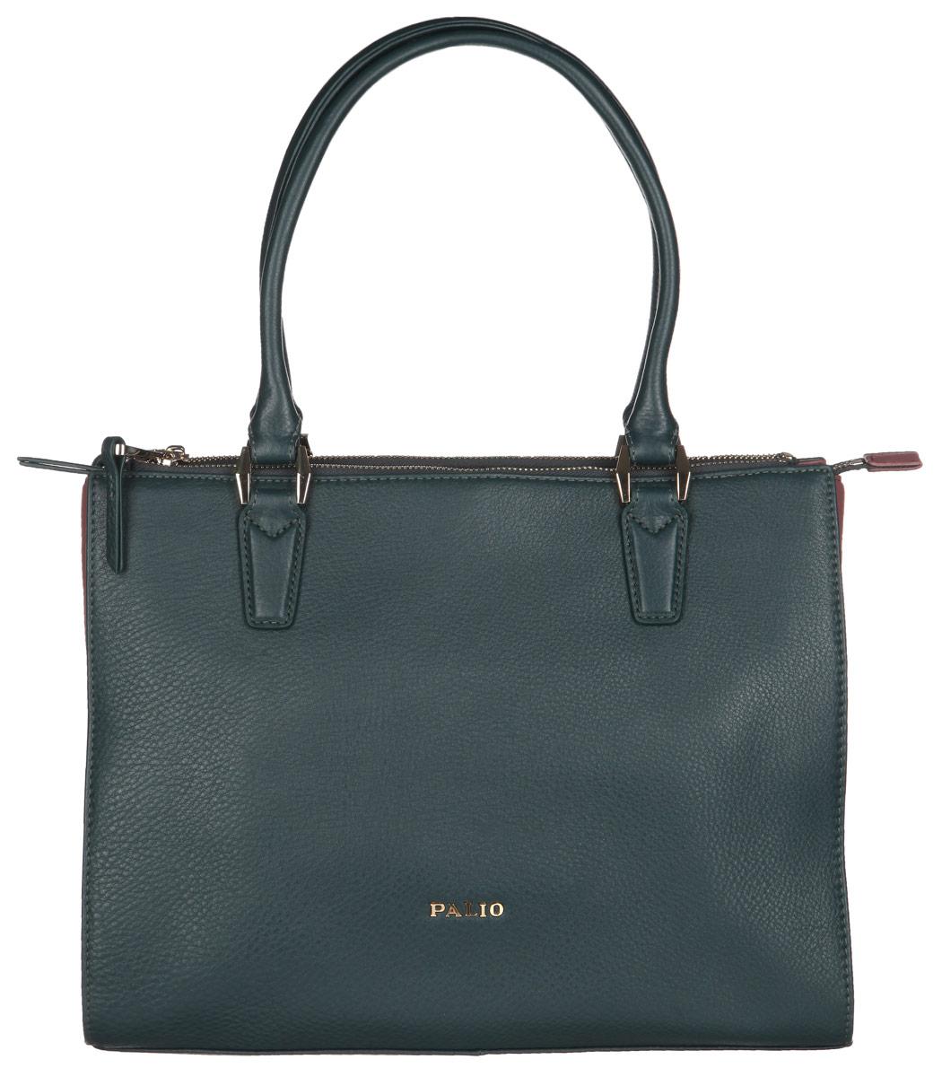 Сумка женская Palio, цвет: темно-зеленый, лиловый. 14132A-W24106черныеСтильная женская сумка Palio выполнена из натуральной кожи с фактурным тиснением. Изделие имеет одно основное отделение, закрывающееся на застежку-молнию. Внутри находится прорезной карман на застежке-молнии и два открытых накладных кармашка. Снаружи, на передней стенке расположен накладной карман на застежке-молнии, на задней стенке - накладной карман на застежке-молнии с прорезным карманом на застежке-молнии. Сумка оснащена двумя удобными ручками. Основание изделия защищено от повреждений металлическими ножками. Изделие упаковано в фирменный чехол.Дизайн сумки позволит вам подчеркнуть свою индивидуальность, и сделает ваш образ изысканным и завершенным.