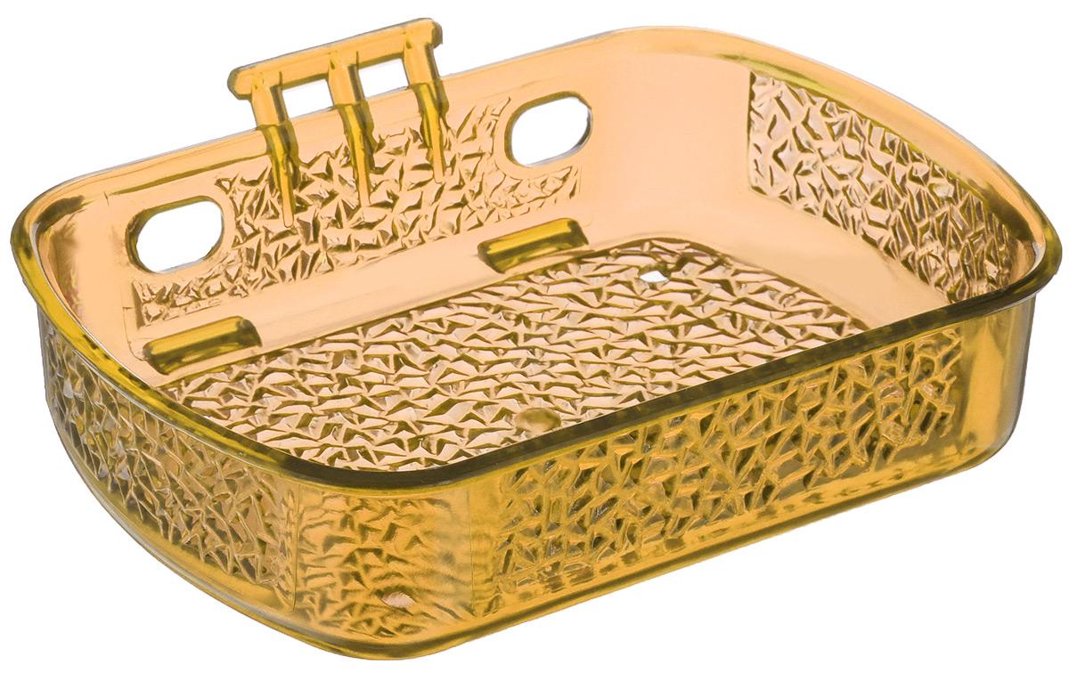 Мыльница Fresh Code, на липкой основе, цвет: светло-оранжевый, 10 см х 13,5 см х 3 см74-0060Мыльница для ванной комнаты Fresh Code выполнена из цветного пластика, декорированного красивым рельефом. Крепление на липкой ленте многократного использования идеально подходит для гладкой поверхности. Такая мыльница прекрасно подойдет для интерьера ванной комнаты.