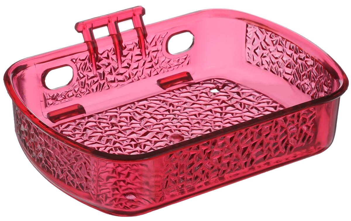 Мыльница Fresh Code, на липкой основе, цвет: малиновый, 10 х 13,5 х 3 см68/5/3Мыльница для ванной комнаты Fresh Code выполнена из цветного пластика, декорированного красивым рельефом. Крепление на липкой ленте многократного использования идеально подходит для гладкой поверхности. Такая мыльница прекрасно подойдет для интерьера ванной комнаты.