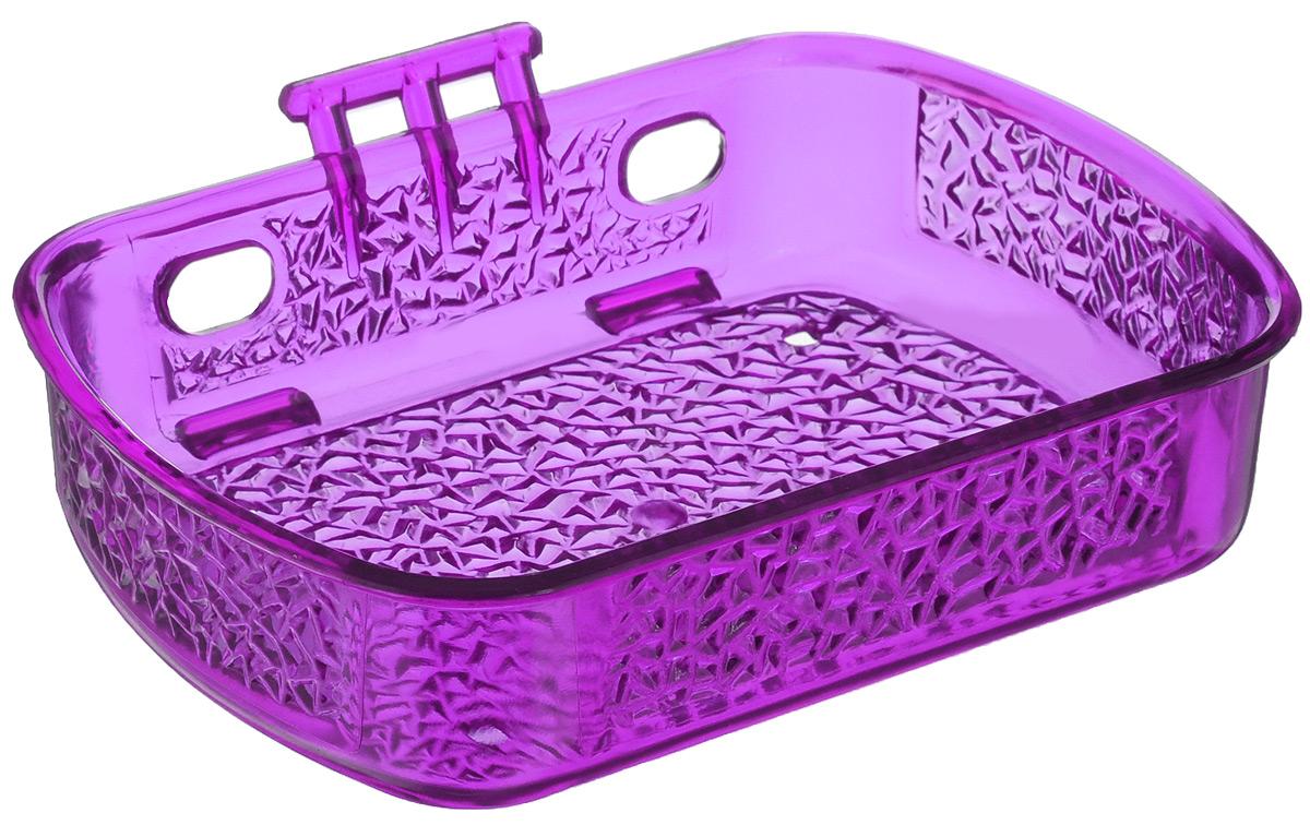 Мыльница Fresh Code, на липкой основе, цвет: сиреневый, 10 х 13,5 х 3 см531-105Мыльница для ванной комнаты Fresh Code выполнена из цветного пластика, декорированного красивым рельефом. Крепление на липкой ленте многократного использования идеально подходит для гладкой поверхности. Такая мыльница прекрасно подойдет для интерьера ванной комнаты.