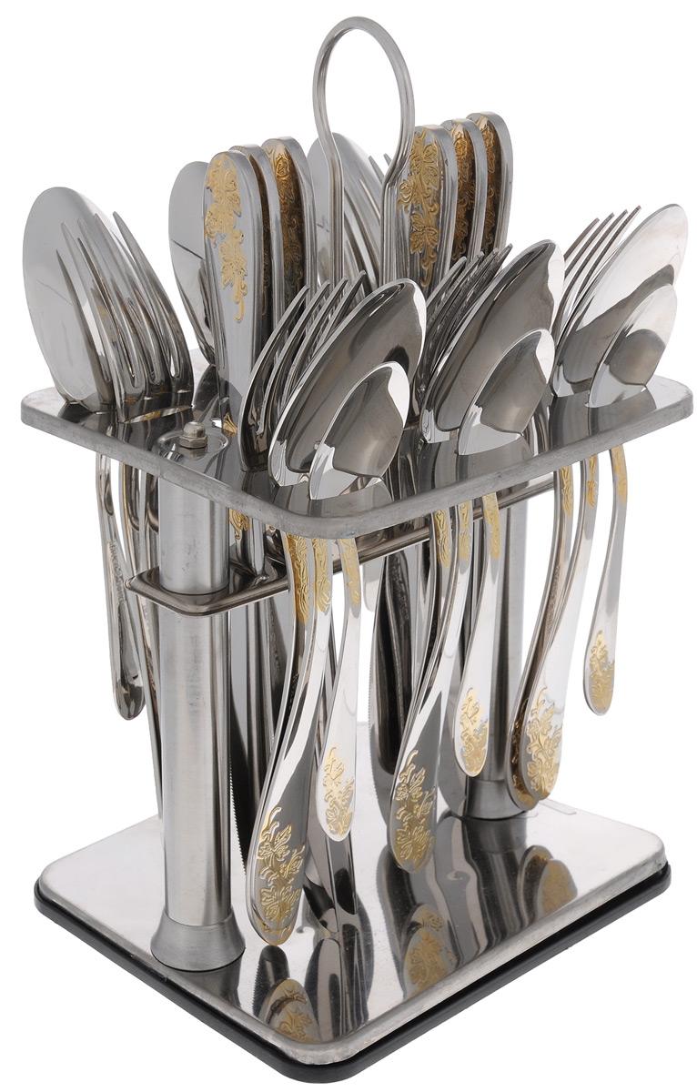 Набор столовых приборов Mayer&Boch, 25 предметов. 231081007 02 006Набор столовых приборов Mayer & Boch выполнен из прочной глянцевой нержавеющей стали. В набор входит 25 предметов: 6 обеденных ножей, 6 обеденных ложек, 6 обеденных вилок и 6 чайных ложек и подставка. Приборы имеют оригинальные удобные ручки с оригинальным узором. Прекрасное сочетание свежего дизайна и удобство использования предметов набора придется по душе каждому. Предметы набора расположены на подставке из стали с четырьмя секциями для каждого вида приборов. Подставка оснащена удобной ручкой для переноски. Набор столовых приборов Mayer & Boch подойдет для сервировки стола как дома, так и на даче и всегда будет важной частью трапезы, а также станет замечательным подарком.Длина ножей: 23 см.Длина ложек: 20,5 см.Длина вилок: 20 см.Длина чайных ложек: 14 см.Размер подставки: 16 см х 13 см х 27 см.