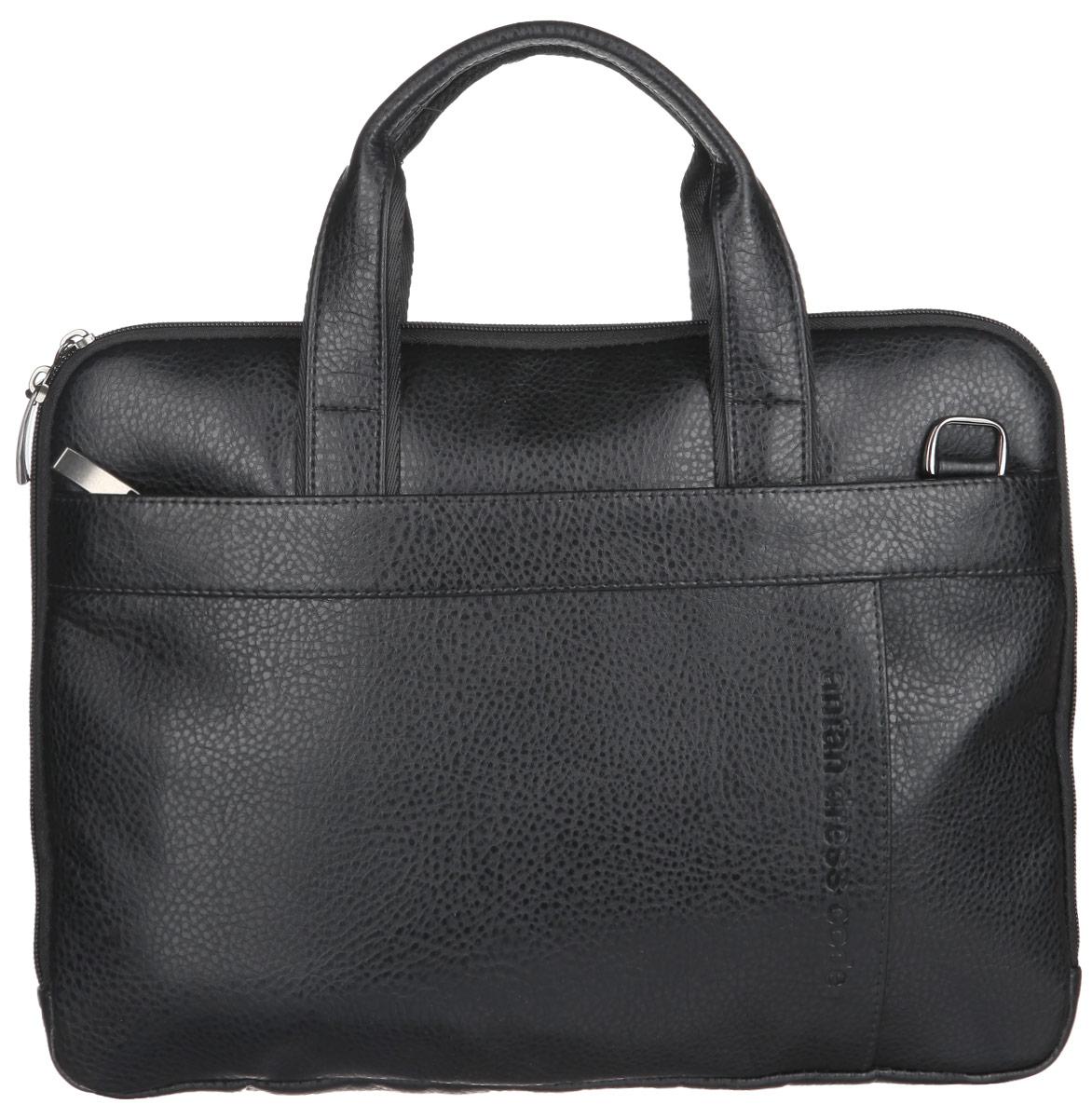 Сумка мужская Antan, цвет: черный. 8-1 ВS76245Стильная мужская сумка Antan выполнена из искусственной кожи, оформлена металлической фурнитурой и символикой бренда.Изделие содержит одно отделение, которое закрывается на застежку-молнию. Внутри размещен врезной карман на молнии. Снаружи, на передней и тыльной стенках сумки, расположены три накладных кармана, каждый из которых закрывается на застежку-молнию. Сумка оснащена двумя практичными ручками и съемным плечевым ремнем регулируемой длины, которые позволят носить изделие, как в руках, так и на плече.Сумка Antan прекрасно дополнит ваш деловой образ.