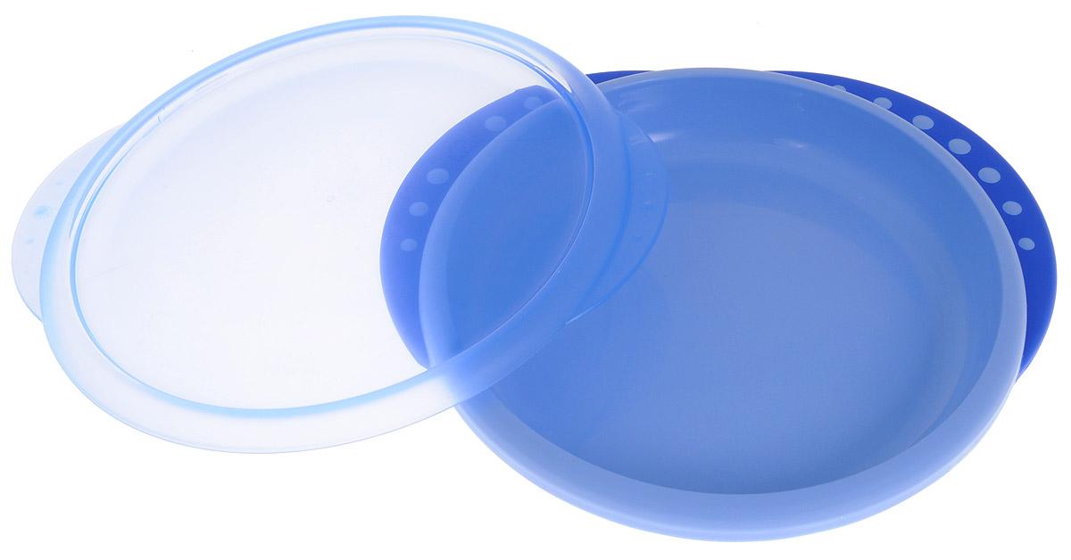NUK Тарелка детская Easy Learning от 8 месяцев цвет синий10255049_синийДетская тарелка NUK Easy Learning незаменима для приготовления, кормления и самостоятельного приема пищи для детей от 8 месяцев. Благодаря крышке пища остается свежей. Закруглённый край облегчает зачерпывание. Нескользящие ручки обеспечивают безопасность и удобство использования. Устойчивое, нескользкое дно для большей надежности. Изготовлена из высококачественного материала. Не содержит бисфенол-А. Подходит использования в микроволновой печи и посудомоечной машине.
