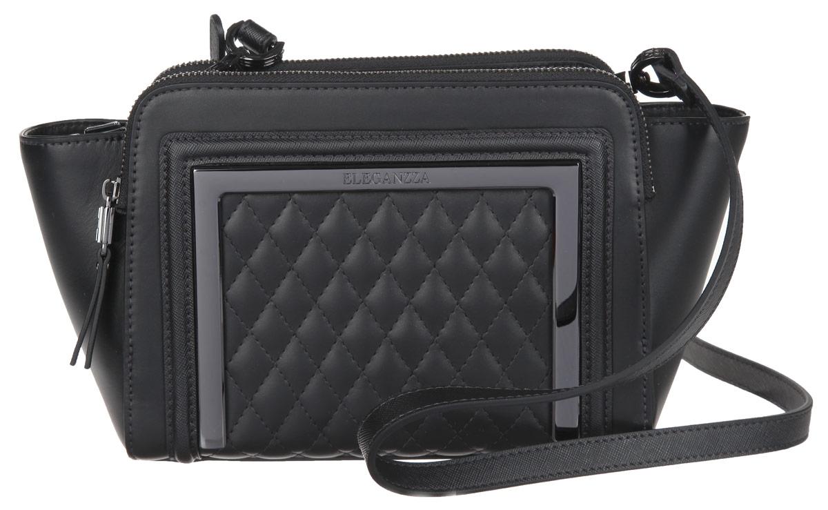 Сумка женская Eleganzza, цвет: черный. Z-14246-223008Стильная женская сумка Eleganzza выполнена из натуральной кожи. Изделие имеет одно основное отделение, закрывающееся на застежку-молнию. Внутри находится прорезной карман на застежке-молнии и открытый накладной кармашек. Снаружи, на задней и передней стенках расположены накладные карманы на застежках-молниях. Сумка оснащена съемным плечевым ремнем, который регулируется по длине. В комплект входит фирменный чехол для хранения. Основание изделия защищено от повреждений металлическими ножками. Дизайн сумки позволит вам подчеркнуть свою индивидуальность, и сделает ваш образ изысканным и завершенным.