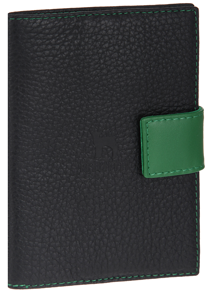 Обложка для паспорта женская Dimanche Mumi, цвет: черный, зеленый. 08035680Стильная обложка для паспорта Dimanche Mumi выполнена из натуральной кожи с фактурным тиснением и оформлена фирменным логотипом.Изделие раскладывается пополам и закрывается хлястиком на кнопку. На внутреннем развороте имеются три боковых кармана. Обложка не только поможет сохранить внешний вид ваших документов и защитить их от повреждений, но и станет стильным аксессуаром, идеально подходящим вашему образу. Обложка для паспорта стильного дизайна может быть достойным и оригинальным подарком.
