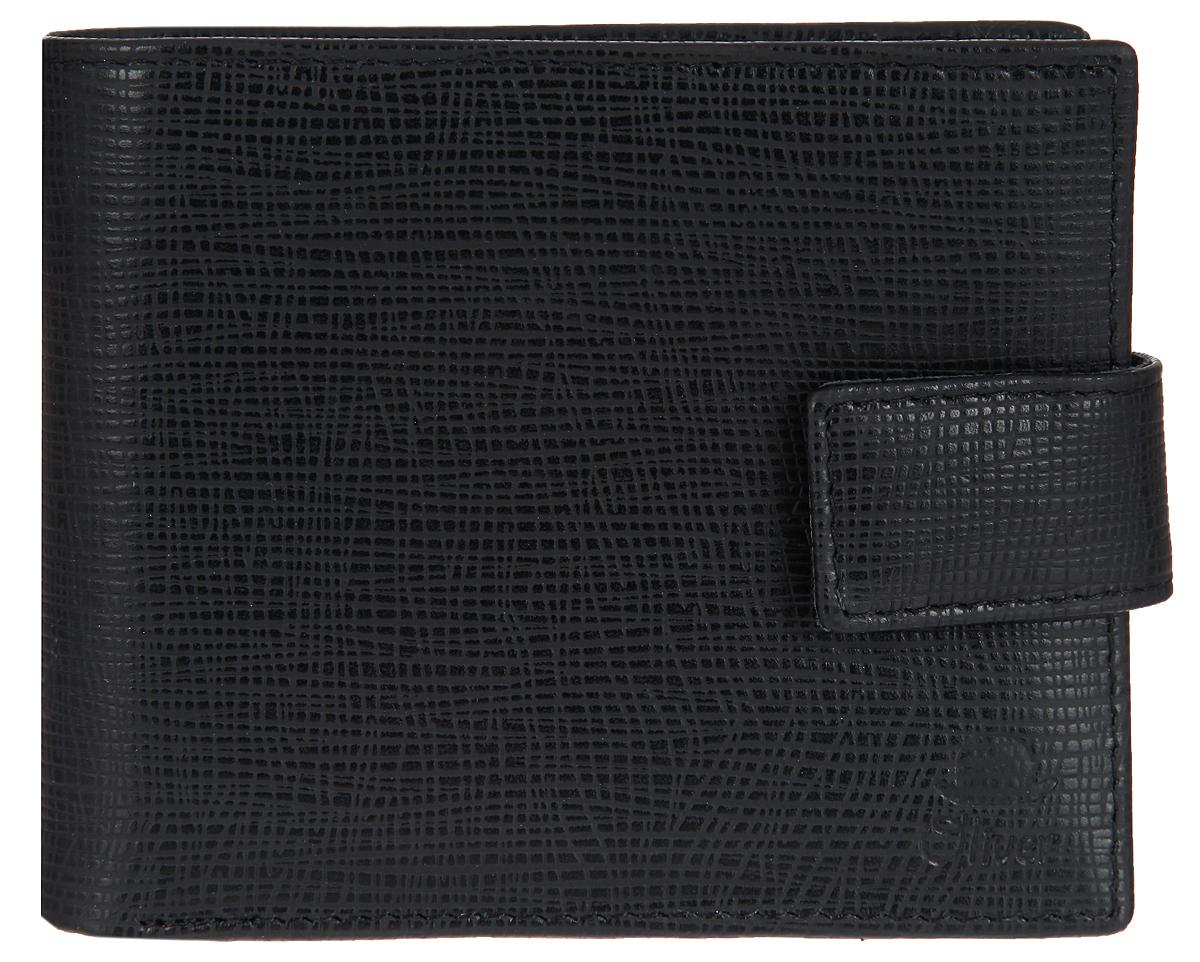 Портмоне мужское Dimanche Oliver, цвет: черный. 074W16-12123_811Стильное мужское портмоне Dimanche Oliver выполнено из натуральной кожи с фактурным тиснением. Закрывается изделие на хлястик с кнопкой. Внутри имеются три отделения для купюр, одно из которых на застежке-молнии, шесть кармашков для визиток и пластиковых карт, два потайных кармана и карман для мелочи, закрывающийся на клапан с кнопкой.Изделие упаковано в фирменную коробку.Стильное портмоне Dimanche Oliver станет отличным подарком для человека, ценящего качественные и практичные вещи.