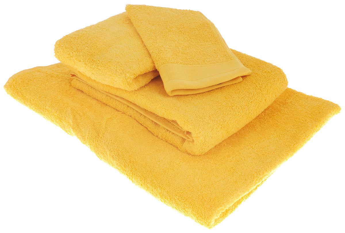 Набор махровых полотенец Guten Morgen, цвет: желтый, 4 предмета1004900000360Набор Guten Morgen состоит из 4 махровых полотенец разного размера. Полотенца изготовлены из высококачественного хлопка, при производстве используются только безопасные красители. Полотенца мягкие, приятные на ощупь, превосходно впитывают влагу, стойкие к истиранию цвета. Снабжены специальными петельками для подвешивания на крючок. Такой набор полотенец - модное дополнение к любому декору ванной. Благодаря высокой плотности махры полотенца прослужат долгие годы, даря тепло и уют вам и вашим близким.