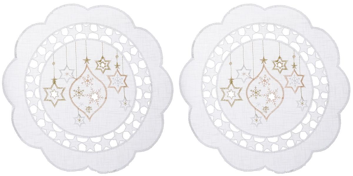 Салфетка Schaefer, круглая, цвет: белый, диаметр 30 см, 2 шт. 07397-31516067_фиолетовыйКруглая салфетка Schaefer, выполненная из полупрозрачного полиэстера, станет изысканным украшением интерьера. Изделие декорировано вышивкой в виде елочных игрушек и красивой перфорацией по краю в виде звездочек. Изделия из искусственных волокон легко стирать: они не мнутся, не садятся и быстро сохнут, они более долговечны, чем изделия из натуральных волокон. Вы можете использовать салфетку для декорирования стола, комода, журнального столика. В любом случае она добавит в ваш дом стиля, изысканности и неповторимости и убережет мебель от царапин и потертостей.