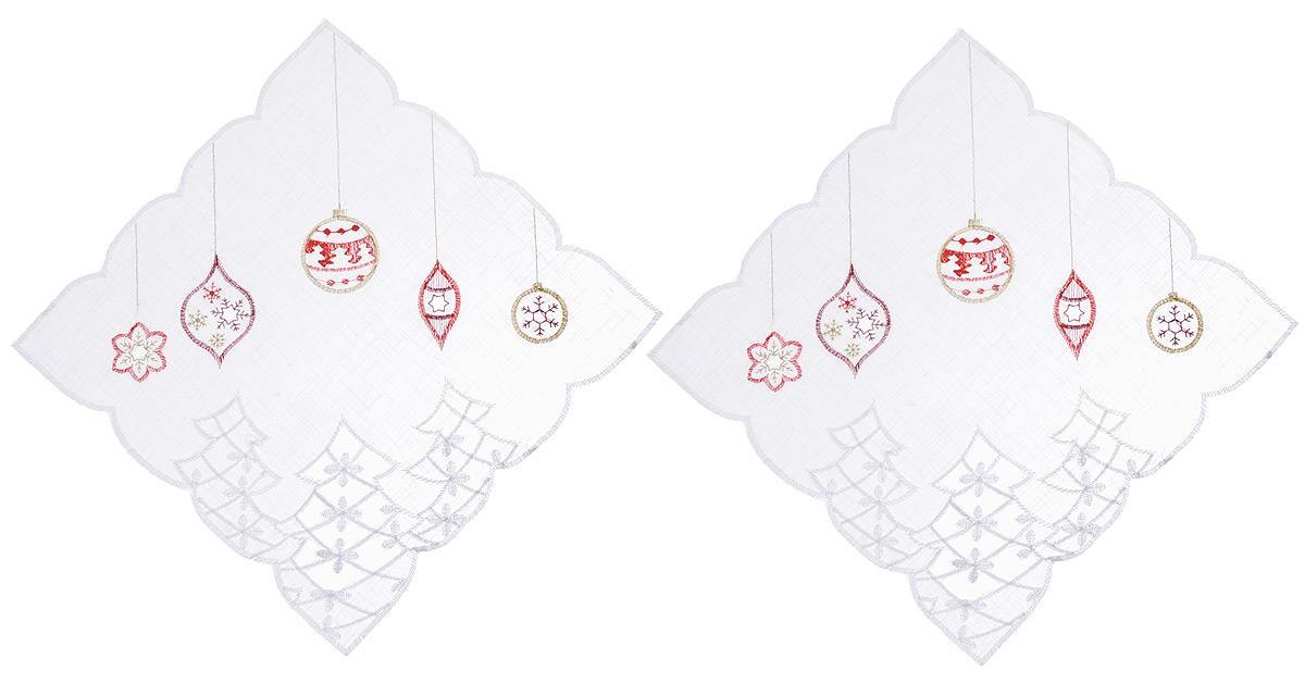 Салфетка Schaefer, квадратная, цвет: белый, 30 х 30 см, 2 шт. 07396-327VT-1520(SR)Квадратная салфетка Schaefer, выполненная из полупрозрачного полиэстера, станет изысканным украшением интерьера. Изделие декорировано вышивкой в виде елочных игрушек и красивой перфорацией по краю. Изделия из искусственных волокон легко стирать: они не мнутся, не садятся и быстро сохнут, они более долговечны, чем изделия из натуральных волокон. Вы можете использовать салфетку для декорирования стола, комода, журнального столика. В любом случае она добавит в ваш дом стиля, изысканности и неповторимости и убережет мебель от царапин и потертостей.