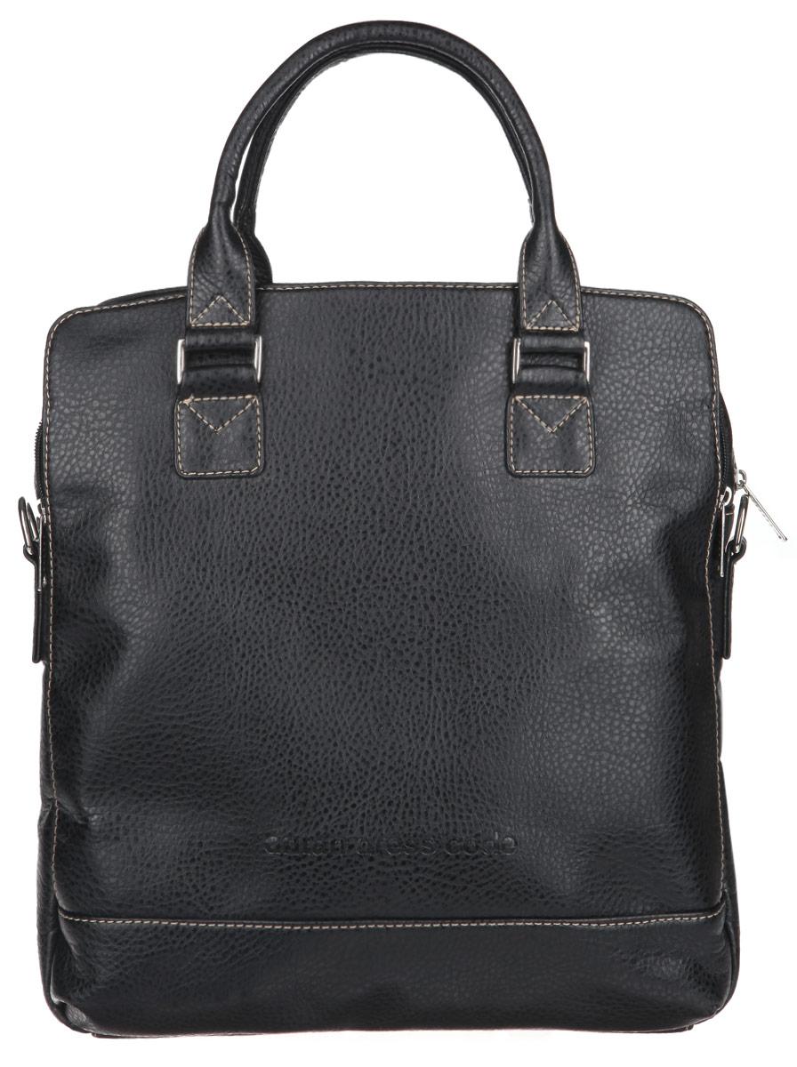 Сумка женская Antan, цвет: черный. 8-5 В23008Стильная женская сумка Antan выполнена из искусственной кожи. Изделие имеет одно основное отделение, закрывающееся на застежку-молнию. Внутри находится прорезной карман на застежке-молнии и два открытых накладных кармана. Снаружи, на передней стенке расположен накладной карман на магнитной кнопке, внутри которого находится накладной открытый кармашек и пять держателей для авторучек. На задней стенке расположен накладной карман на застежке-молнии и прорезной карман на застежке-молнии. Сумка оснащена двумя удобными ручками. В комплект входит съемный текстильный плечевой ремень, который регулируется по длине.Дизайн сумки, сочетающий классические формы с оригинальным оформлением, позволит вам подчеркнуть свою индивидуальность и сделает ваш образ изысканным и завершенным.