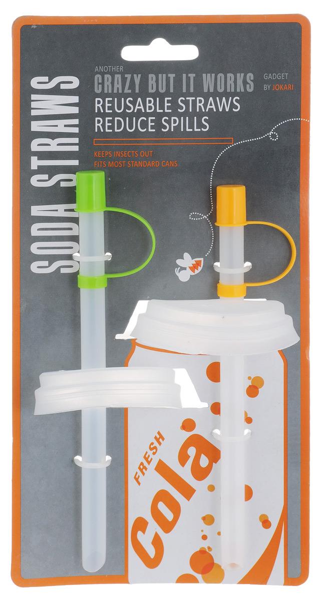 Набор трубочек с крышкой для газированных напитков Bradex Jokari, 2 штVT-1520(SR)Набор трубочек с крышкой для газированных напитков Bradex Jokari - оригинальное и полезное приспособление для любителей газировки. Трубочка защищает напиток от проливания благодаря специальной крышке, плотно закрывающей банку. Кроме того, набор трубочек с крышкой позволяет снизить риск образования кариеса, поскольку кислоты из газированного напитка попадают непосредственно в полость рта, минуя зубы. Этот набор также защитит вас от назойливых насекомых, которые обычно слетаются и садятся на остатки сладкого напитка на верхней части банки. Использование набора трубочек с крышкой для газированных напитков еще и более гигиенично, поскольку вы не дотрагиваетесь губами до нестерильной банки. Длина трубочки: 16 см. Диаметр крышки: 6,5 см.