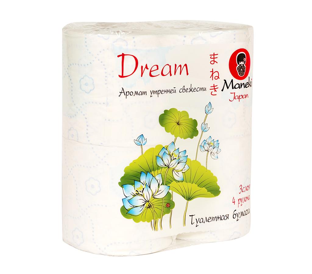 Туалетная бумага Maneki Dream, с ароматом утренней свежести, 3 слоя, 4 рулона010-01199-23Туалетная бумага Maneki Dream - это экологически чистый продукт, изготовленный из 100% натуральной целлюлозы. Бумага имеет голубое тиснение в виде цветов и аромат утренней свежести. Не содержит флуоресцентных красителей. Отдушка нежно парфюмирована, не вызывает аллергических реакций. Инновационная технология скрепления слоев обеспечивает бумаге шелковистость и непревзойденную нежность. Бумага хорошо растворяется в воде. Аккуратно отрывается по линии перфорации. Длина рулона: 23 м. Количество слоев: 3. Количество листов: 167. Размер листа: 13,8 см х 10 см.