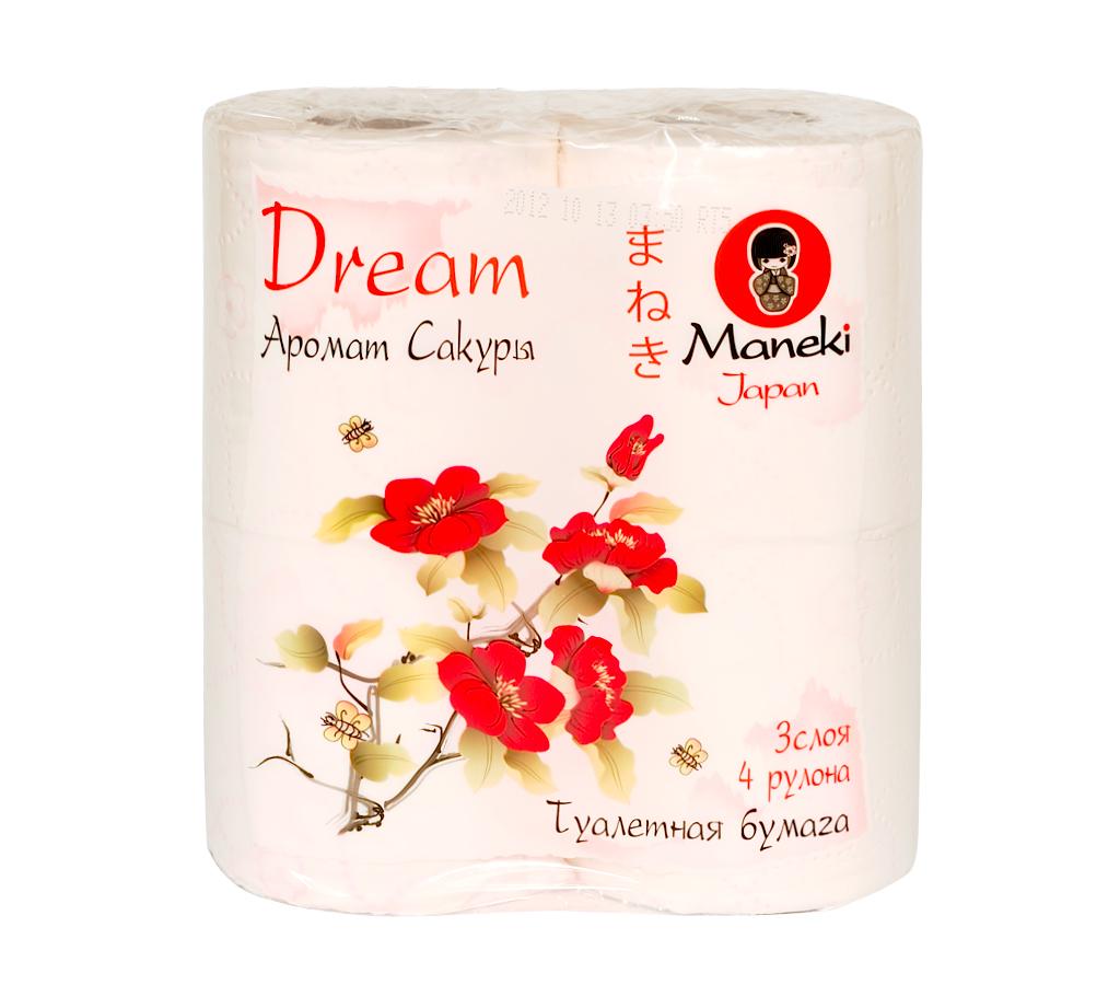 Туалетная бумага Maneki Dream, с ароматом сакуры, 3 слоя, 4 рулона391602Туалетная бумага Maneki Dream - это экологически чистый продукт, изготовленный из 100% натуральной целлюлозы. Бумага имеет розовое тиснение в виде цветов и нежный аромат сакуры. Не содержит флуоресцентных красителей. Отдушка нежно парфюмирована, не вызывает аллергических реакций. Инновационная технология скрепления слоев обеспечивает бумаге шелковистость и непревзойденную нежность. Бумага хорошо растворяется в воде. Аккуратно отрывается по линии перфорации. Длина рулона: 23 м. Количество слоев: 3. Количество листов: 167. Размер листа: 13,8 см х 10 см.