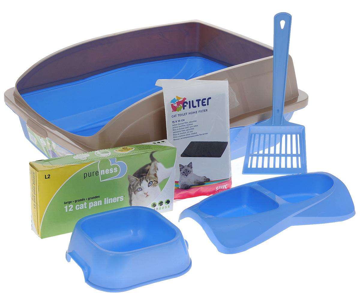 Лоток для кошек VanNess, с аксессуарами, цвет: голубой, бежевый, 48 см х 38 см х 19 смS08070100_салатовыйЛоток для кошек VanNess изготовлен из прочного пластика, снабжен бортиками, чтобы кошка не разбрасывала наполнитель. В комплект также входит совок для мусора, двойная миска для еды, миска для воды, фильтр с активированным углем для поглощения неприятных запахов и пакеты для мусора, которые надеваются прямо на лоток для комфортной уборки кошачьего туалета. Такой набор - идеальное решение, если у вас в доме появилась кошка. Здесь есть все необходимое для пушистого питомца. Размер лотка: 48 см х 38 см х 19 см. Размер угольного фильтра: 15 см х 10 см. Размер миски: 16 см х 14 см х 5 см. Размер двойной миски: 26 см х 14 см х 4 см. Длина лопатки: 28 см. Размер рабочей поверхности лопатки: 11 см х 9 см. Количество мешков для мусора: 12 шт.