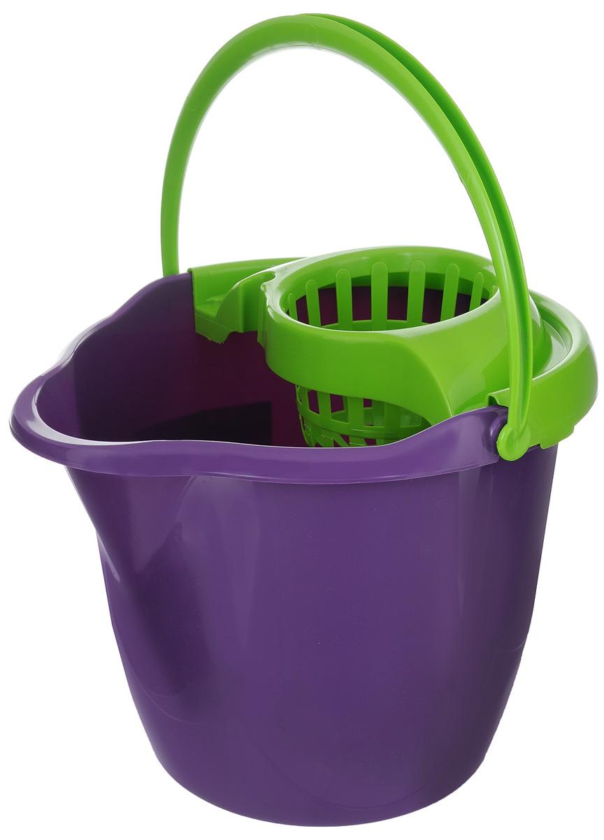 Ведро с отжимом York Prestige, цвет: фиолетовый, салатовый, 12 л печатающая головка hp c9383a