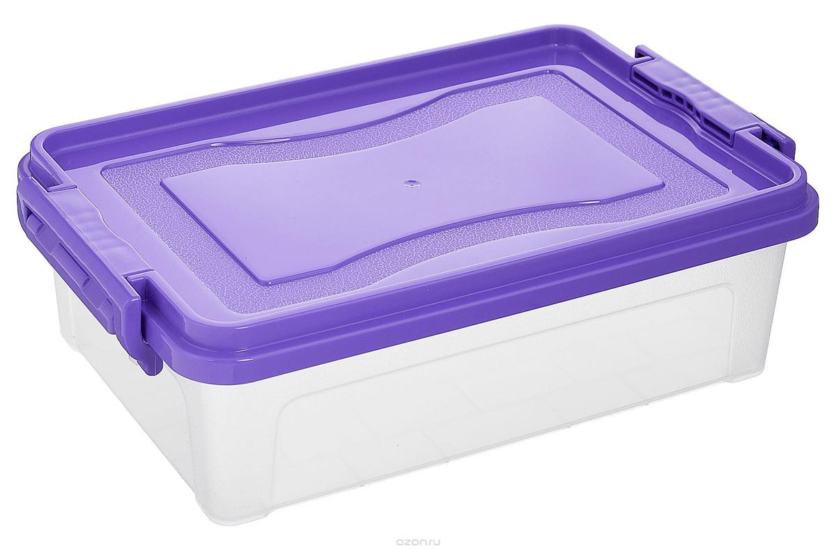 Контейнер для хранения Idea, прямоугольный, цвет: прозрачный, фиолетовый, 10,5 л41619Контейнер для хранения Idea выполнен из высококачественного полипропилена. Контейнер снабжен двумя пластиковыми фиксаторами по бокам, придающими дополнительную надежность закрывания крышки. Вместительный контейнер позволит сохранить различные нужные вещи в порядке, а герметичная крышка предотвратит случайное открывание, защитит содержимое от пыли и грязи.