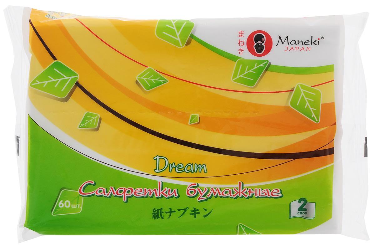 Салфетки бумажные Maneki Dream, цвет: белый, 2 слоя, 60 шт9103500790Бумажные двухслойные салфетки Maneki Dream класса Премиум произведены из 100% целлюлозы. Салфетки хорошо впитывают влагу и не оставляют бумажной пыли. Салфетки мягкие и шелковистые, не вызывают раздражения кожи, подходят для косметических целей. Размер листа: 19,5 см х 14 см. Количество слоев: 2. Количество салфеток: 60 шт.