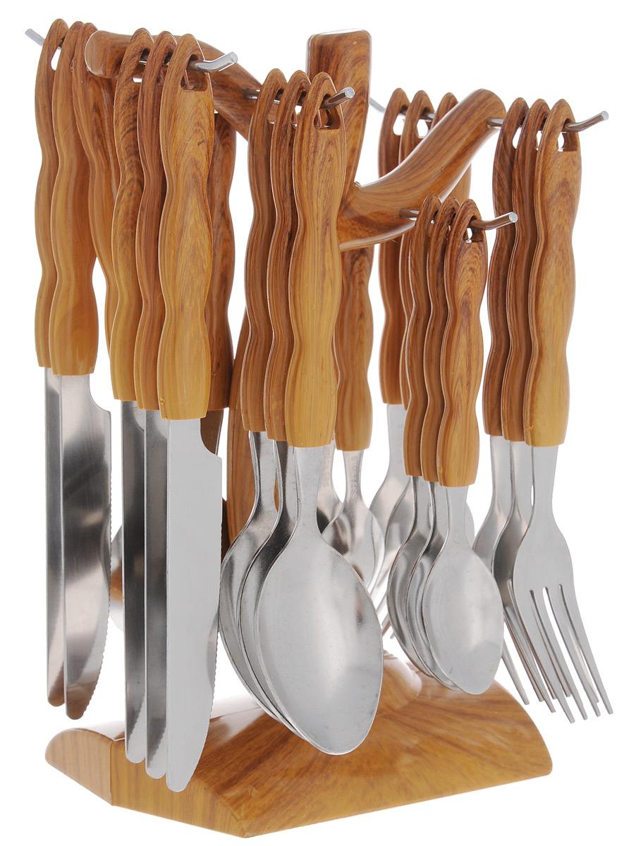 Набор столовых приборов Mayer&Boch, 25 предметов. 20003027302476ELE13Набор столовых приборов Mayer & Boch состоит из 25 предметов: 6 столовых ножей, 6 столовых вилок, 6 столовых ложек, 6 чайных ложек и подставки. Приборы выполнены из высококачественной нержавеющей стали, имеют оригинальные удобные ручки, изготовленные из пластика под дерево. Прекрасное сочетание необычного дизайна и удобство использования предметов набора придется по душе каждому. Для хранения приборов предусмотрена специальная пластиковая подставка в форме дерева. Набор столовых приборов Mayer & Boch всегда будет важной частью трапезы, а также станет замечательным подарком.Длина столовых ножей: 22 см.Длина столовых вилок: 19 см.Длина столовых ложек: 19,5 см.Длина чайных ложек: 15 см.Размер подставки: 13,5 см х 9,5 см х 23 см.