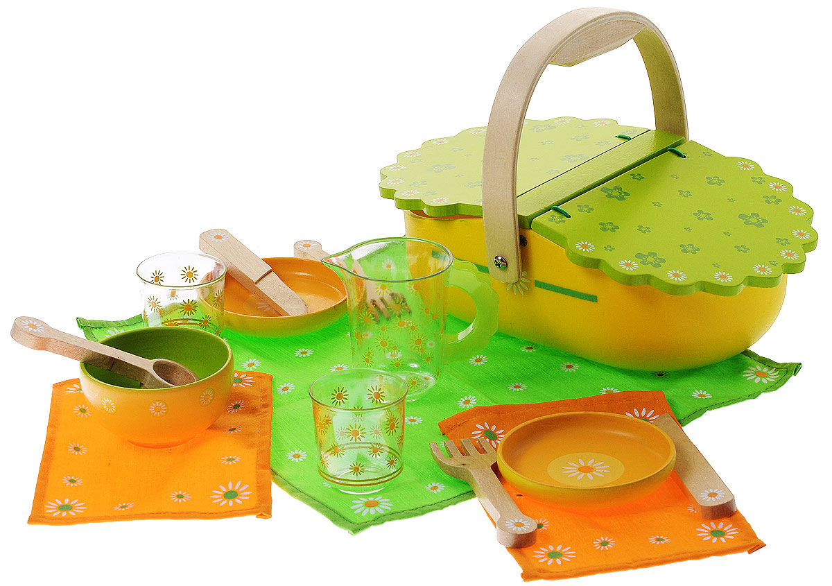 """Игровой набор Djeco """"Мой пикник"""" привлечет внимание любой девочки. Набор включает в себя все необходимое для веселого игрового пикника: корзина, скатерть, полотенце, 2 ножа, 2 вилки, ложка, 2 стакана, 2 тарелки, супница и кувшин. Элементы набора, выполненные из дерева, окрашены нетоксичными красками в яркие цвета. Скатерть и полотенце украшены узором в виде ромашек. Все элементы набора помещаются в удобную корзину для пикника. Все предметы в наборе имеют удобные для детских ручек размеры. Ваша малышка сможет часами играть с этим замечательным набором, выдумывая различные истории и разыгрывая пикник на лесной полянке. Такие игры развивают мелкую моторику, социальные навыки и воображение, а также помогут ребенку познакомиться с различными цветами и формами. Порадуйте свою малышку таким замечательным подарком!"""