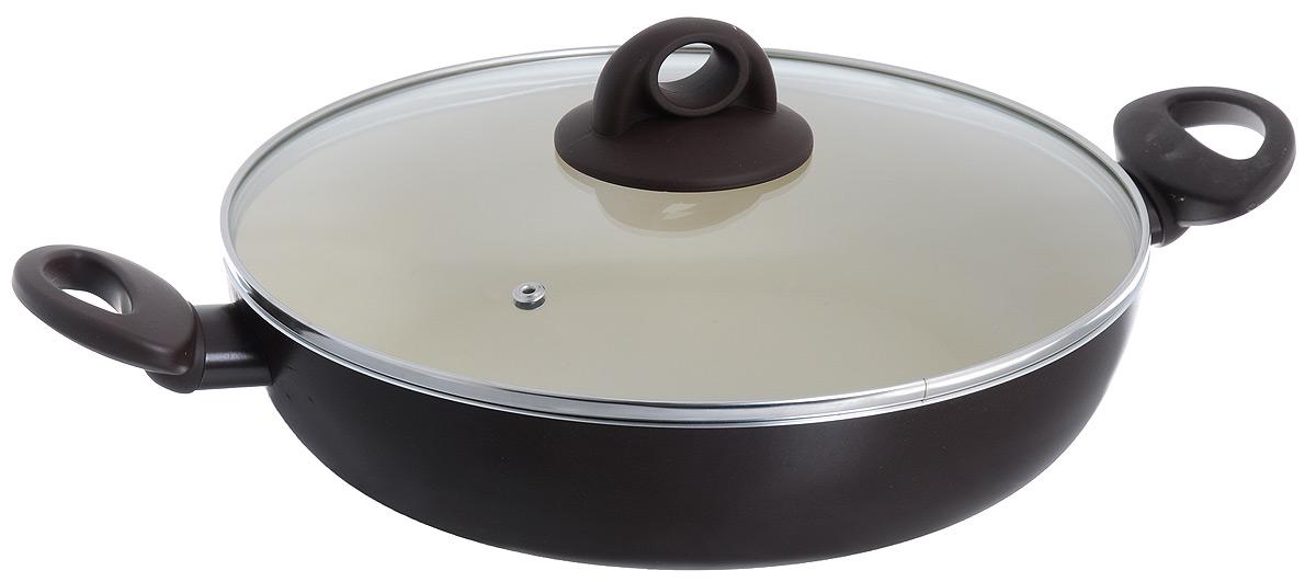 Жаровня Jarko Dark Chocolate с крышкой, с антипригарным покрытием. Диаметр 28 см115510Жаровня Jarko Dark Chocolate изготовлена из высококачественного алюминия со светлым внутренним антипригарным покрытием нового поколения. Покрытие, позволяющее готовить при высоких температурах (до 240°С), не оставляет послевкусия, делает возможным приготовление блюд без масла, сохраняет витамины и питательные вещества. Оно обладает повышенной стойкостью к царапинам и внешним воздействиям. Покрытие экологически безопасно, не содержит PFOA и не выделяет вредных соединений при нагреве. Внешнее жаростойкое покрытие коричневого цвета обеспечивает легкую чистку. Улучшенная теплопроводимость обеспечивает моментальный нагрев и работу в энергосберегающем режиме. Жаровня оснащена эргономичными ручками из бакелита с покрытием Soft-Touch. Крышка, изготовленная из жаростойкого стекла, позволяет следить за процессом приготовления блюд без потери тепла. Жаровня пригодна для использования на всех типах плит, кроме индукционных. Подходит для чистки в посудомоечной машине.Элегантный дизайн и изысканный подбор цветовой гаммы основного покрытия - это аристократическая посуда Chocolate. И как настоящий шоколад, посуда способствует выбросу в кровь гормонов счастья - эндорфинов! Хорошее настроение гарантировано!Диаметр (по верхнему краю): 28 см. Высота стенки: 6,5 см.Ширина (с учетом ручек): 42 см. Диаметр диска: 15 см.