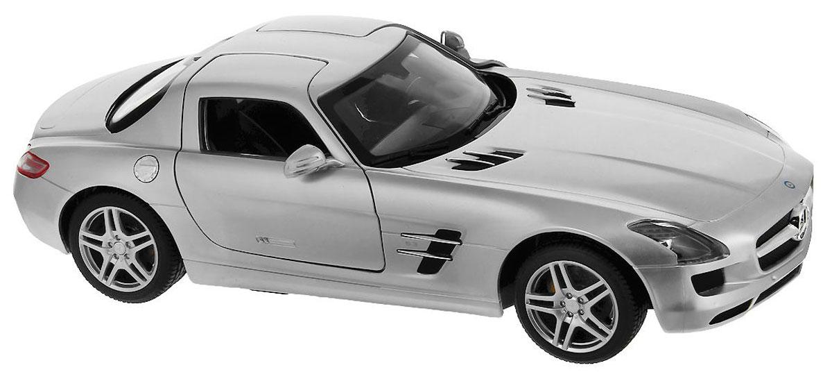 """Радиоуправляемая модель Rastar """"Mercedes-Benz SLS"""" со световыми и звуковыми эффектами, являющаяся точной копией настоящего автомобиля, - отличный подарок не только ребенку, но и взрослому. Автомобиль изготовлен из современных прочных материалов и обладает высокой стабильностью движения, что позволяет полностью контролировать его процесс, управляя без суеты и страха сломать игрушку. Основные направления движения автомобиля: вперед-назад-влево- вправо. При движении вперед у автомобиля горят фары, при движении назад - стоп-сигналы. Пульт управления автомобиля выполнен в виде удобного руля на подставке, что позволяет не только держать его в руках, но и располагать на горизонтальной поверхности. На руле расположены кнопки газа, торможения и кнопка гудка. Во время движения автомобиля кнопка газа должна быть всегда нажата. На подставке руля расположен рычаг коробки передач, включающей в себя 4 положения: 1. D1 - движение вперед с сопутствующим звуком движения из..."""