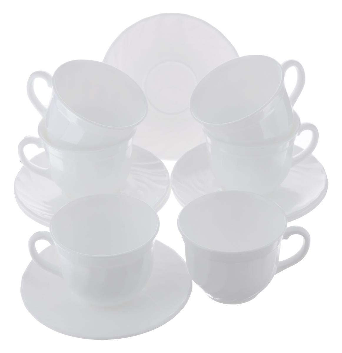 Набор чайный Luminarc Trianon, цвет: белый, 12 предметов115510Чайный набор Luminarc Trianon состоит из 6 чашек и 6 блюдец. Изделия, выполненные извысококачественного ударопрочного стекла, имеют элегантныйдизайн и классическую круглую форму. Посуда отличается прочностью,гигиеничностью и долгим сроком службы, она устойчива к появлению царапин ирезким перепадам температур. Такой набор прекрасно подойдет как для повседневного использования, так и дляпраздников. Чайный набор Luminarc Trianon - это не только яркий и полезный подарок для родных иблизких, это также великолепное дизайнерское решение для вашей кухни илистоловой. Объем чашки: 220 мл. Диаметр чашки (по верхнему краю): 8,7 см. Высота чашки: 6,8 см.Диаметр блюдца (по верхнему краю): 14 см.Высота блюдца: 1,5 см.