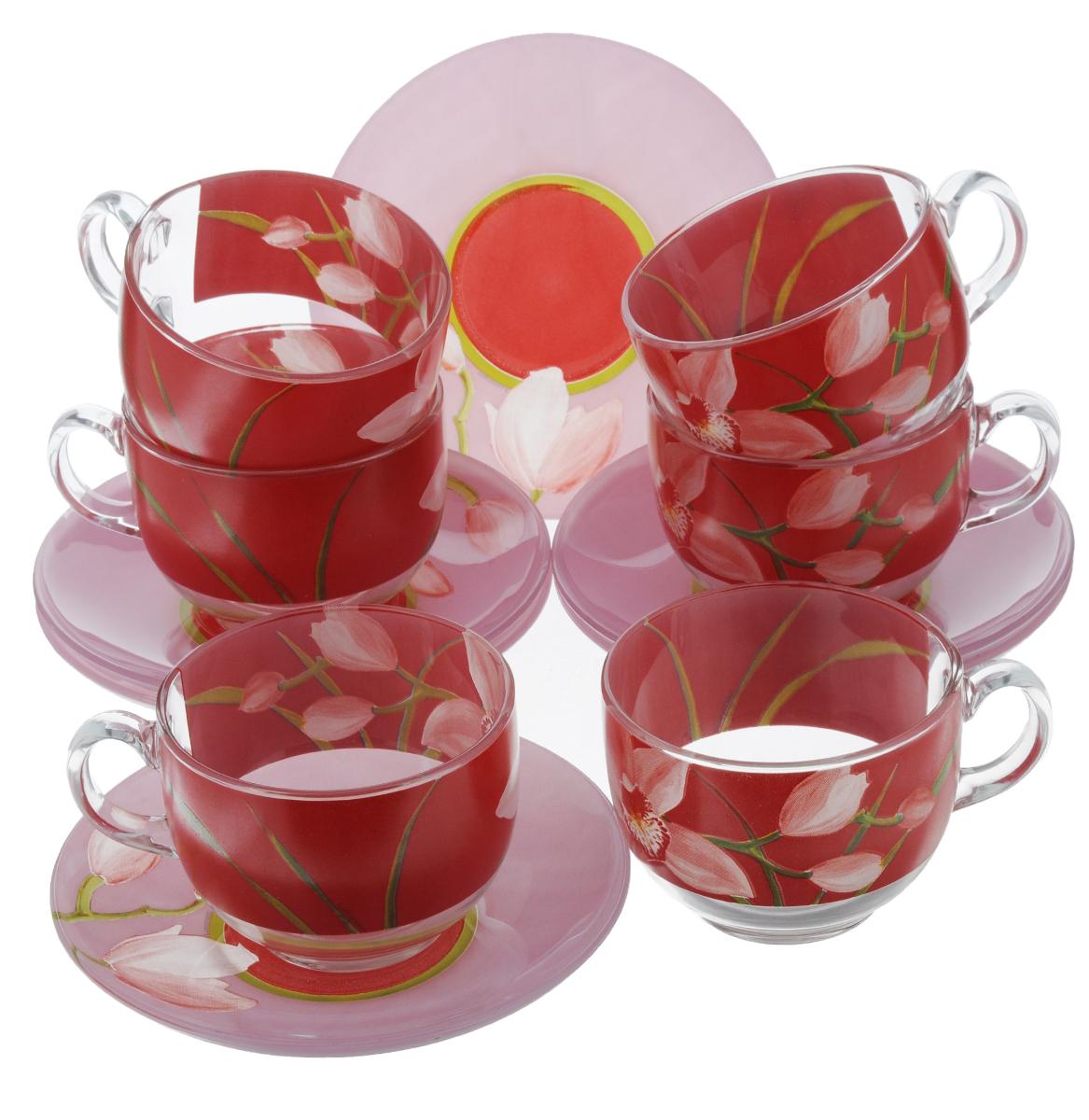 Набор чайный Luminarc Red Orchis, 12 предметовG0670Чайный набор Luminarc Red Orchis состоит из 6 чашек и 6 блюдец. Изделия, выполненные из высококачественного ударопрочного стекла, имеют элегантный дизайн с красивым цветочным рисунком. Посуда отличается прочностью, гигиеничностью и долгим сроком службы, она устойчива к появлению царапин и резким перепадам температур. Такой набор прекрасно подойдет как для повседневного использования, так и для праздников. Чайный набор Luminarc Red Orchis - это не только яркий и полезный подарок для родных и близких, но также великолепное дизайнерское решение для вашей кухни или столовой. Объем чашки: 220 мл. Диаметр чашки (по верхнему краю): 8,2 см. Высота чашки: 6,5 см.Диаметр блюдца (по верхнему краю): 14 см.Высота блюдца: 2 см.