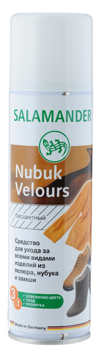 Средство Salamander Nubuk Velours для ухода за всеми видами изделий из велюра, нубука и замши, 250 мл391602Высококачественное средство Salamander Nubuk Velours подходит для ухода за всеми видами изделий из велюра, нубука и замши. Оно великолепно освежает цвет и ухаживает за изделиями. Пропитывает и защищает от влаги и глубоких загрязнений. Состав: более 30% алифатические углеводороды, изопропиловый спирт, фторкарбоновый полимер, силиконовое масло.Объем: 250 мл.Товар сертифицирован.