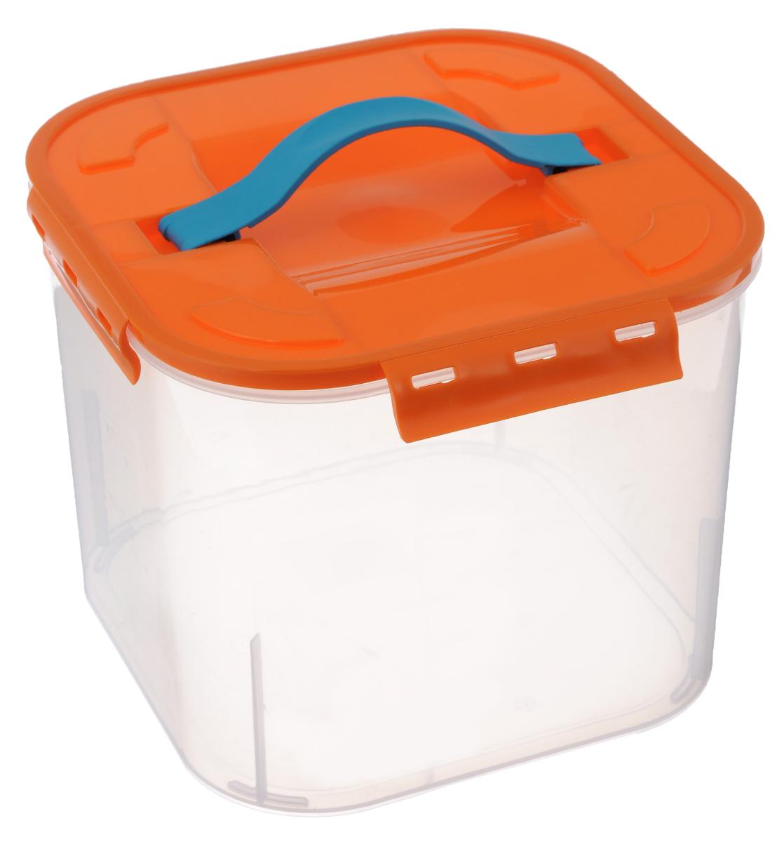 Контейнер для хранения Idea, цвет: оранжевый, прозрачный, 7 л1004900000360Контейнер для хранения Idea выполнен из прочного полипропилена. Он идеально подойдет для хранения пищевых продуктов, а также любых мелких бытовых предметов: канцелярии, принадлежностей для шитья и многого другого. Контейнер плотно закрывается цветной крышкой с 4 защелками. Для удобства переноски сверху имеется ручка, выполненная из термоэластопласта. Контейнер Idea очень вместителен, он пригодится в любом хозяйстве.Материал: полипропилен, термоэластопласт.