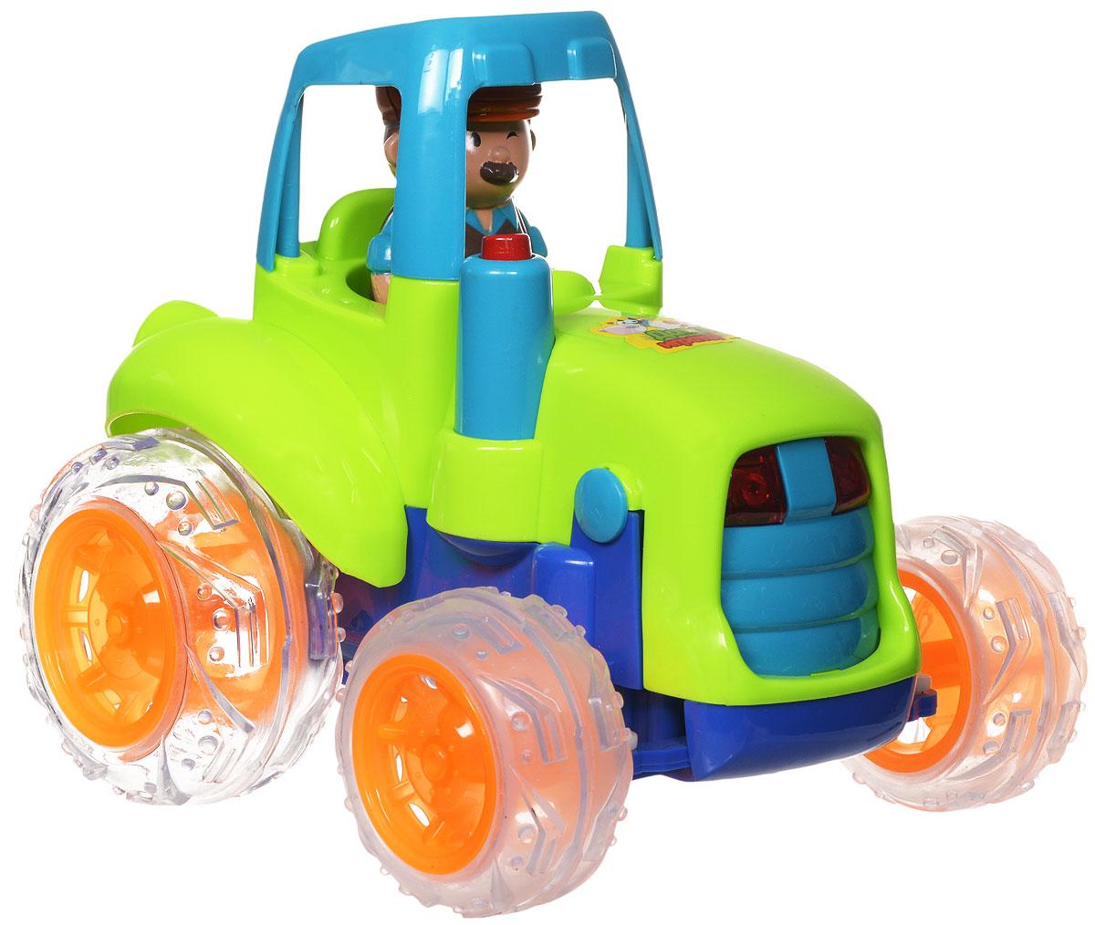 """Трактор на радиоуправлении """"Zhorya"""" станет отличным подарком для вашего малыша. Яркая и красочная модель не оставит равнодушным ни одного ребенка. Трактор оснащен световыми эффектами, что делает процесс игры еще более интересным и увлекательным. Игрушка управляется с помощью дистанционного пульта. Она может двигаться вперед и назад, разворачиваться вправо и влево. Фигурка тракториста съемная. Пульт управления работает на частоте 27 MHz. Для работы игрушки необходимы 4 батарейки типа АА (не входят в комплект). Для работы пульта управления необходимы 2 батарейки типа АА (не входят в комплект)."""