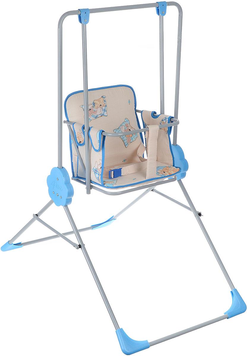"""Детские качели Фея """"Малыш"""" приведут в восторг любого маленького непоседу! Качели предназначены для развлечения и развития вестибулярного аппарата малышей. Качели выполнены из металла и имеют складную конструкцию, благодаря чему их удобно транспортировать и хранить. Сидение имеет спинку и оснащено металлической планкой безопасности, которая не позволит малышу соскользнуть с сидения. Сидение дополнено съемным мягким чехлом, который оформлен забавными рисунками и оснащен ремнем безопасности. Качели доставят массу удовольствия вашему малышу, они невероятно просты и удобны в использовании. В сложенном состоянии качели очень компактны и занимают мало места, поэтому их можно брать с собой на природу или в поездку. Предельно допустимая нагрузка составляет 15 кг."""