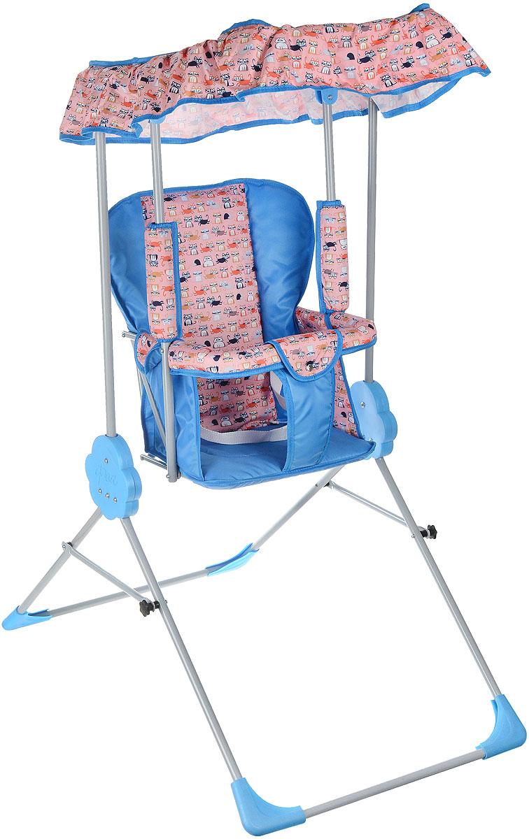 """Детские качели Фея """"Малыш"""" приведут в восторг любого маленького непоседу! Качели предназначены для развлечения и развития вестибулярного аппарата малышей. Качели выполнены из металла и имеют складную конструкцию, благодаря чему их удобно транспортировать и хранить. Сидение имеет спинку и оснащено металлической планкой безопасности, которая не позволит малышу соскользнуть с сидения. Сидение дополнено съемным мягким чехлом, который оформлен забавными рисунками и оснащен ремнем безопасности. Качели также оборудованы съемным тентом из водоотталкивающей ткани, который надежно защитит вашего малыша от солнца и легкого дождя. Качели доставят массу удовольствия вашему малышу, они невероятно просты и удобны в использовании. В сложенном состоянии качели очень компактны и занимают мало места, поэтому их можно брать с собой на природу или в поездку. Предельно допустимая нагрузка составляет 15 кг."""