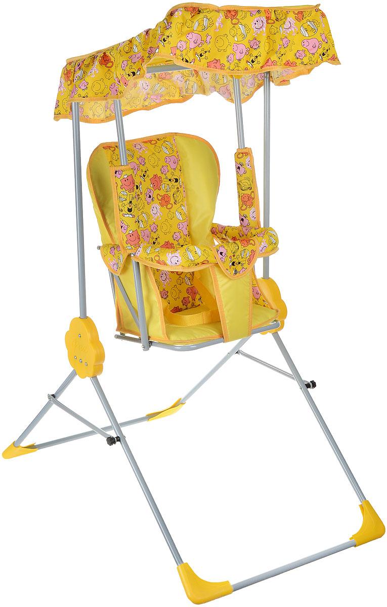 """Детские качели Фея """"Малыш"""" приведут в восторг любого маленького непоседу! Качели предназначены для развлечения и развития вестибулярного аппарата малышей. Качели выполнены из металла и имеют складную конструкцию, благодаря чему их удобно транспортировать и хранить. Сидение имеет спинку и оснащено металлической планкой безопасности, которая не позволит малышу соскользнуть с сидения. Сидение дополнено съемным мягким чехлом, который оформлен забавными рисунками и оснащен ремнем безопасности. Качели также оборудованы тентом из водоотталкивающей ткани, который надежно защитит вашего малыша от солнца и легкого дождя. Качели доставят массу удовольствия вашему малышу, они невероятно просты и удобны в использовании. В сложенном состоянии качели очень компактны и занимают мало места, поэтому их можно брать с собой на природу или в поездку. Предельно допустимая нагрузка составляет 15 кг."""