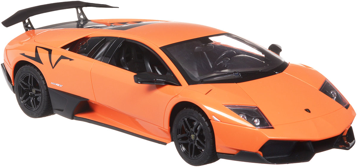 """Все мальчишки любят мощные крутые тачки! Особенно если это дорогие машины известной марки, которые, проезжая по улице, обращают на себя восторженные взгляды пешеходов. Радиоуправляемая модель TopGear """"Lamborghini Murcielago LP 670-4"""" - это детальная копия существующего автомобиля в масштабе 1:14. Машинка изготовлена из прочного легкого пластика, колеса прорезинены. При движении передние и задние фары машины светятся. При помощи пульта управления автомобиль может перемещаться вперед, дает задний ход, поворачивает влево и вправо, останавливается. Встроенные амортизаторы обеспечивают комфортное движение. В комплект входит машинка, пульт управления, зарядное устройство (время зарядки составляет 4-5 часов), аккумулятор. Автомобиль отличается потрясающей маневренностью и динамикой. Ваш ребенок часами будет играть с моделью, устраивая захватывающие гонки. Машина работает от аккумулятора 500 mAh напряжением 6V (входит в комплект). Пульт управления работает..."""