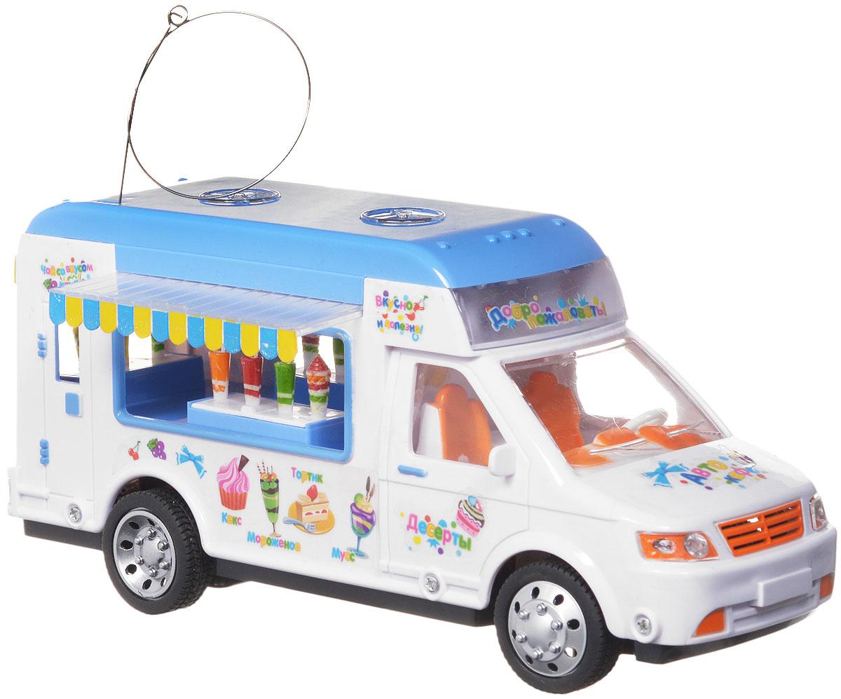 """Машина на радиоуправлении Zhorya """"Автокафе"""" станет замечательным подарком для вашего малыша. Игрушка яркая и понравится любому мальчику. Машинка выполнена в виде фургончика автокафе. Машинка может двигаться вперед, назад, поворачивать налево, направо. Движение машинки сопровождается яркой подсветкой и веселой музыкой. Для работы игрушки необходимы 4 батарейки типа АА (не входят в комплект). Для работы пульта управления необходимы 2 батарейки типа АА (не входят в комплект)."""