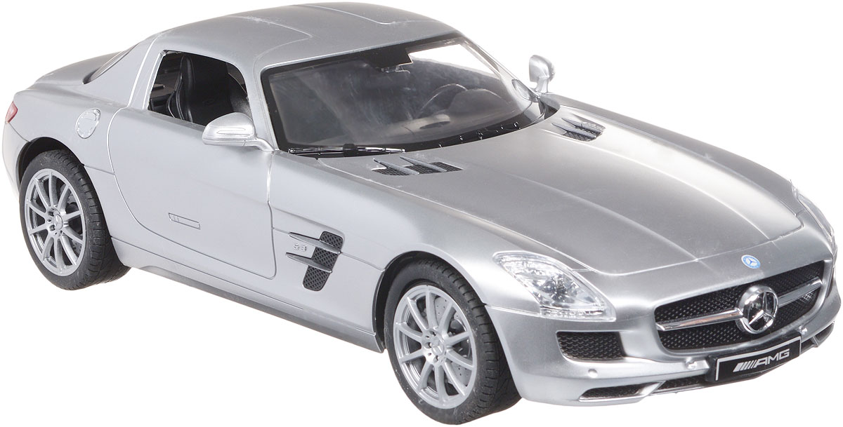 """Все мальчишки любят мощные крутые тачки! Особенно если это дорогие машины известной марки, которые, проезжая по улице, обращают на себя восторженные взгляды пешеходов. Радиоуправляемая модель TopGear """"Mercedes-Benz SLS"""" - это детальная копия существующего автомобиля в масштабе 1:14. Машинка изготовлена из прочного легкого пластика; колеса прорезинены. При движении передние и задние фары машины светятся. При помощи пульта управления автомобиль может перемещаться вперед, дает задний ход, поворачивает влево и вправо, останавливается. Встроенные амортизаторы обеспечивают комфортное движение. В комплект входят машинка, пульт управления, зарядное устройство (время зарядки составляет 4-5 часов), аккумулятор. Автомобиль отличается потрясающей маневренностью и динамикой. Ваш ребенок часами будет играть с моделью, устраивая захватывающие гонки. Машина работает от аккумулятора 500 mAh напряжением 6V (входит в комплект). Пульт управления работает от 2 батареек..."""