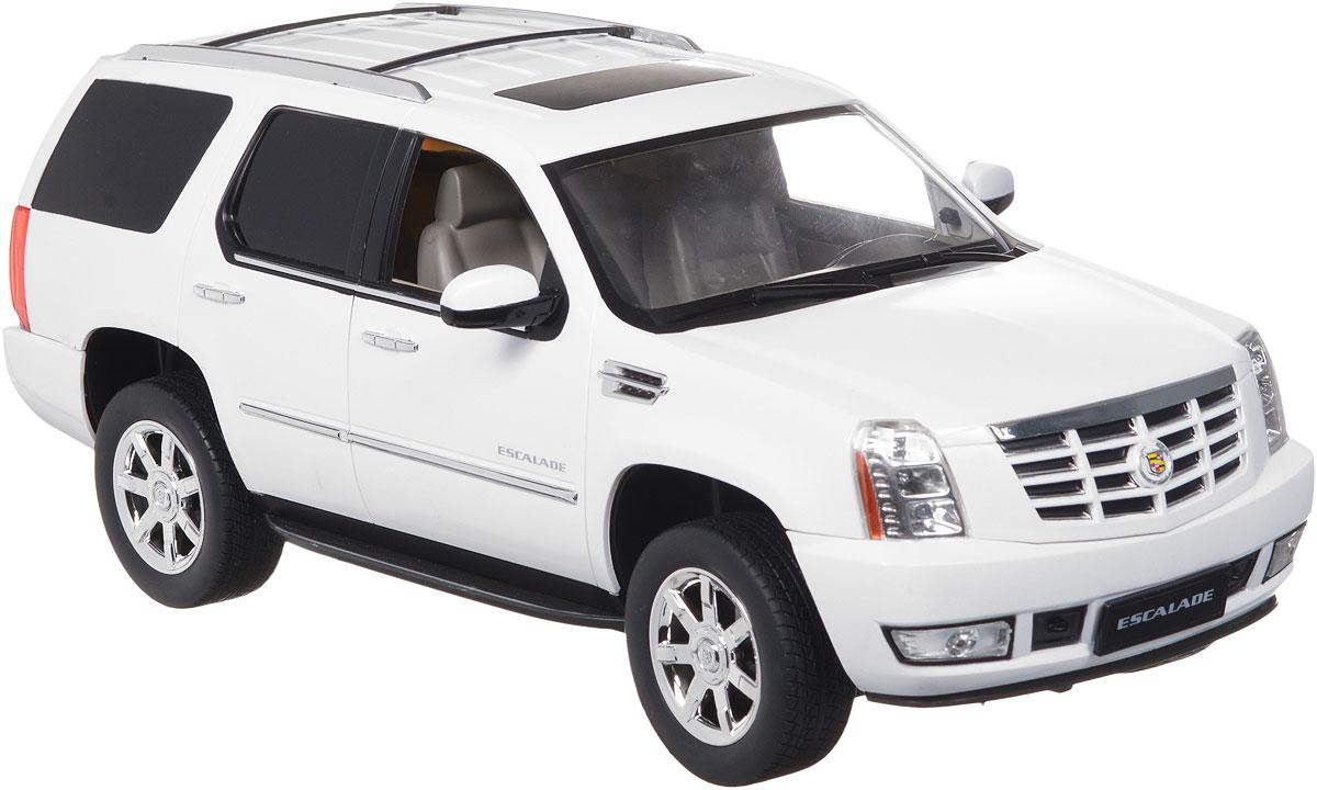 """Радиоуправляемая модель Rastar """"Cadillac Escalade"""" станет отличным подарком любому мальчику! Все дети хотят иметь в наборе своих игрушек ослепительные, невероятные и крутые автомобили на радиоуправлении. Тем более, если это автомобиль известной марки с проработкой всех деталей, удивляющий приятным качеством и видом. Одной из таких моделей является автомобиль на радиоуправлении Rastar """"Cadillac Escalade"""". Это точная копия настоящего авто в масштабе 1:14. Возможные движения: вперед, назад, вправо, влево, остановка. Имеются световые эффекты. Пульт управления работает на частоте 27 MHz. Для работы игрушки необходимы 5 батареек типа АА (не входят в комплект). Для работы пульта управления необходима 1 батарейка 9V типа """"Крона"""" (не входит в комплект)."""