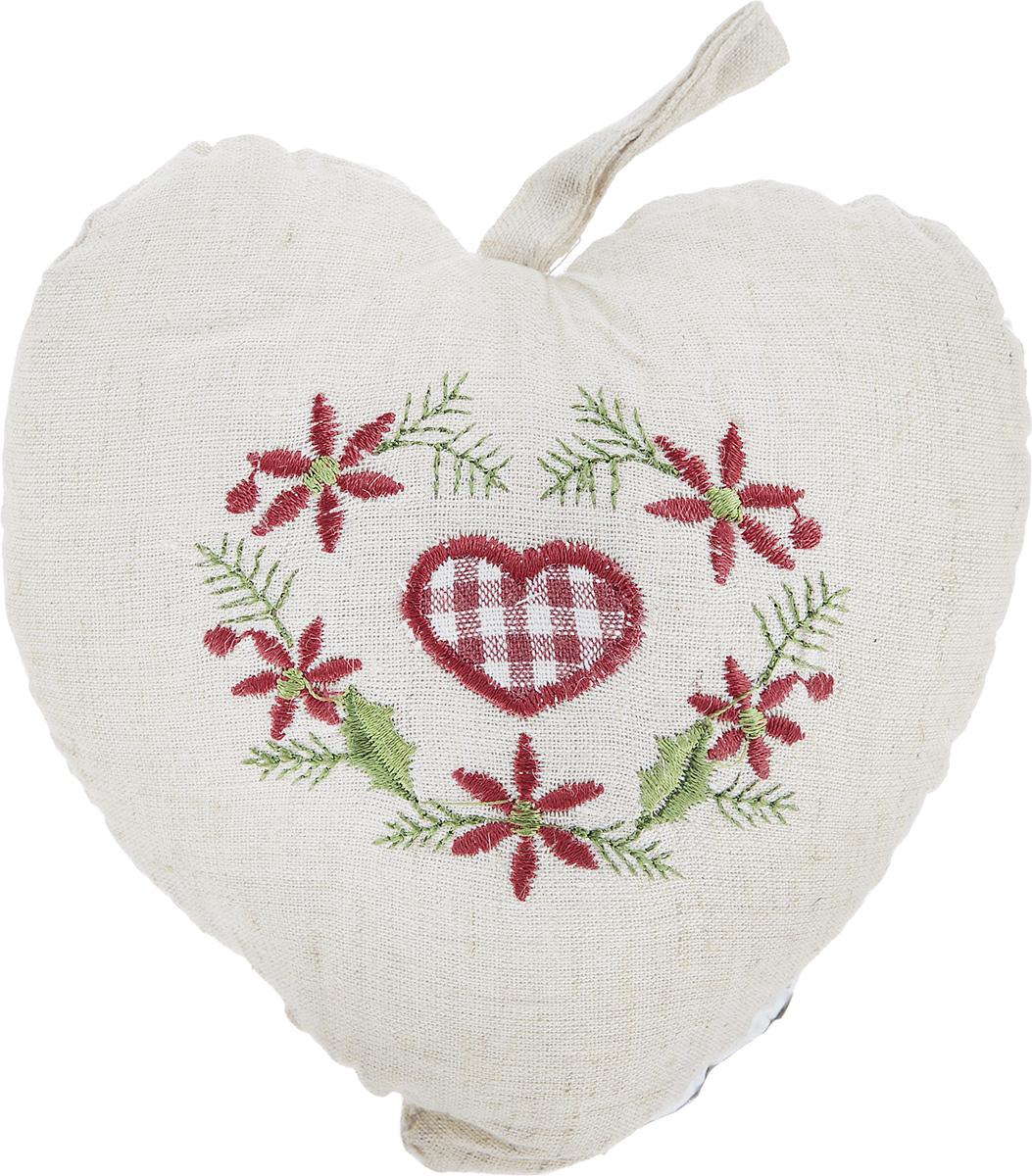 Подушка декоративная Schaefer Сердце, 15 х 15 см16057Подушка Schaefer Сердце станет отличным украшением интерьера. Изделие выполнено в форме сердца из хлопка с добавлением льна и оснащено петелькой для подвешивания. Лицевая сторона подушки декорирована вышивкой в виде клетчатого сердечка и цветочного орнамента. Внутри - мягкий наполнитель. Подушка Schaefer Сердце - это не только стильный предмет декора, но и хороший подарок вашим друзьям и близким, который подарит только положительные эмоции.