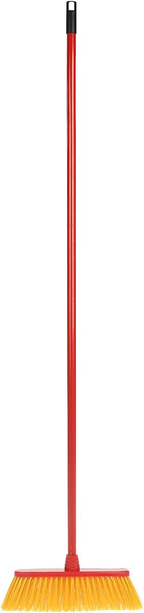 Щетка для улицы Vileda Outdoor, жетская, с ручкой, цвет: красный, желтый, длина 140 см787502Щетка для улицы Vileda Outdoor изготовлена из полипропилена и полиэтилентерефталата (ПЭТ) и предназначена для уборки мусора на улице. Черенок изготовлен из металла с петлей, которая позволит повесить его на крючок и оснащен универсальной резьбой, подходящей всем съемным швабрам-насадкам и щеткам. Ворс легко промывается водой. Устойчив к воздействиям внешней среды (к износу и изгибу). Такая щетка позволит качественно и быстро собрать мусор.Размер щетки: 33 см х 7 см.Длина ворса: 8 см.Длина черенка: 127 см.Общая длина щетки: 140 см.