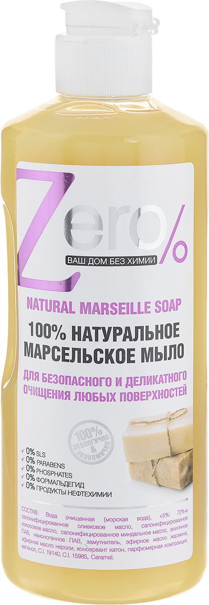 Мыло для безопасного и деликатного очищения Zero, с оливой и кокосом, 500 мл68/5/4Мыло для безопасного и деликатного очищения Zero - это натуральное, эффективное и безопасное моющее средство без вредных и опасных для здоровья химических веществ. В его основу положены натуральные компоненты, хорошо известные и проверенные временем. Масло оливы и кокоса прекрасно растворяет стойкие загрязнения, отлично очищает различные кухонные поверхности, кафель, раковины, сантехнику, духовки, плиты, подходит для мытья посуды. Экономичено в использовании. Обладает натуральным свежим ароматом. Состав: Вода очищенная, менее 5%: 72 % сапонифицированное оливковое масло, сапонифицированное кокосовое масло, сапонифицированное миндальное масло, анионное ПАВ, неионогенное ПАВ, замутнитель, эфирное масло жасмина, эфирное масло нероли, консервант катон, парфюмерная композиция, евгенол.Товар сертифицирован.