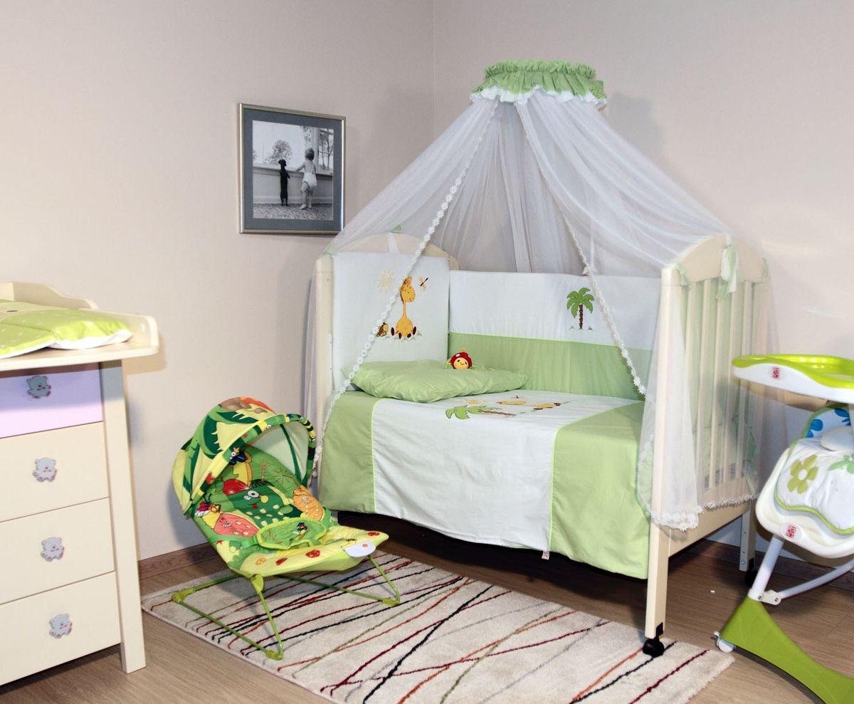 Топотушки Комплект детского постельного белья Оазис цвет зеленый 7 предметовS03301004Комплект постельного белья из 7 предметов включает все необходимые элементы для детской кроватки. Комплект создает для Вашего ребенка уют, комфорт и безопасную среду с рождения; современный дизайн и цветовые сочетания помогают ребенку адаптироваться в новом для него мире. Комплекты «Топотушки» хорошо вписываются в интерьер как детской комнаты, так и спальни родителей. Как и все изделия «Топотушки» данный комплект отражает самые последние технологии, является безопасным для малыша и экологичным. Российское происхождение комплекта гарантирует стабильно высокое качество, соответствие актуальным пожеланиям потребителей, конкурентоспособную цену.Балдахин 5м (сетка); охранный бампер 360х50см. (из 4-х частей, наполнитель – холлофайбер); подушка 40х60см. (наполнитель – холлофайбер); одеяло 140х110см. (наполнитель – холлофайбер); наволочка 40х60см; пододеяльник 147х112см; простынь на резинке 120х60см