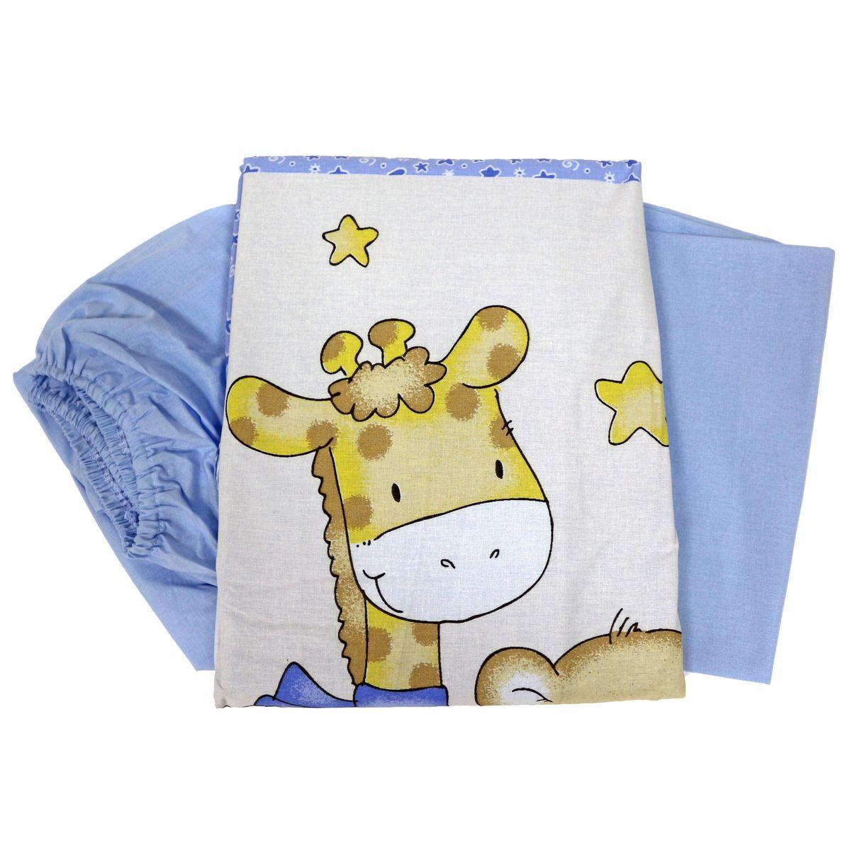 Топотушки Комплект детского постельного белья Детский Мир цвет голубой 3 предмета531-105Сменный комплект постельного белья из 3 предметов для детской кроватки.Комплект создает для Вашего ребенка уют, комфорт и безопасную среду с рождения; современный дизайн и цветовые сочетания помогают ребенку адаптироваться в новом для него мире. Комплекты «Топотушки» хорошо вписываются в интерьер, как детской комнаты, так и в спальни родителей.Как и все изделия «Топотушки» данный комплект отражает самые последние технологии, является безопасным для малыша и экологичным. Российское происхождение комплекта гарантирует стабильно высокое качество, соответствие актуальным пожеланиям потребителей, конкурентоспособную цену.Комплектация: Наволочка 40х60см, пододеяльник 147х112см, простынь на резинке 120х60см