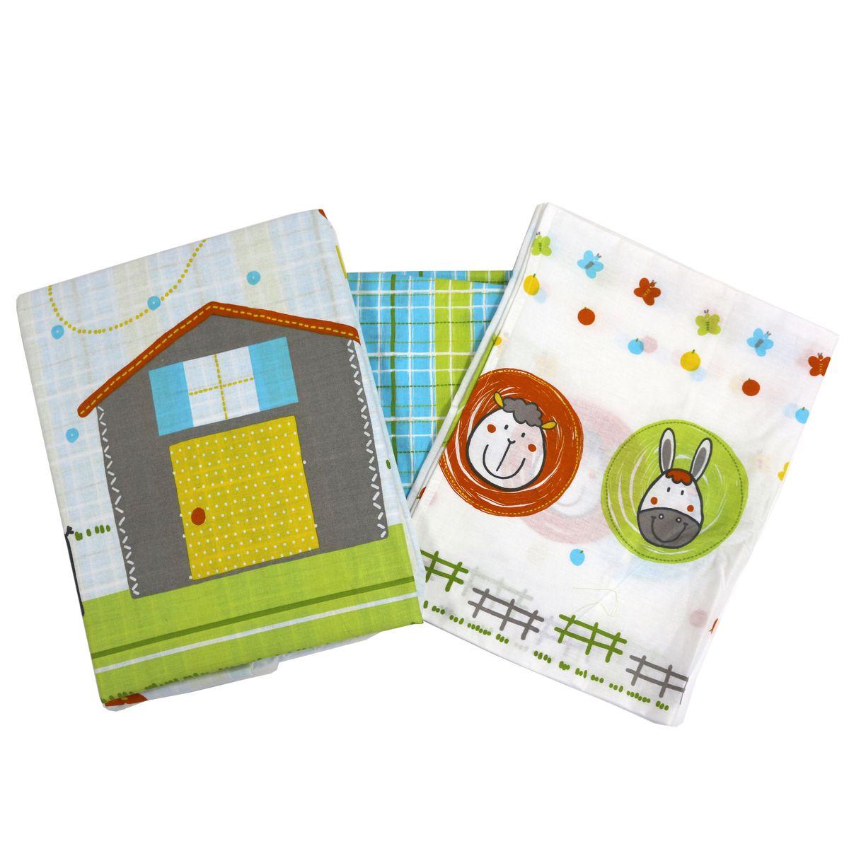 Топотушки Комплект детского постельного белья Ферма цвет зеленый белый 3 предмета150р-50ХККомплект с оригинальным рисунком порадует изображенными персонажами малыша. Сменный комплект постельного белья из 3 предметов для детской кроватки.Комплект создает для Вашего ребенка уют, комфорт и безопасную среду с рождения; современный дизайн и цветовые сочетания помогают ребенку адаптироваться в новом для него мире. Комплекты «Топотушки» хорошо вписываются в интерьер, как детской комнаты, так и в спальни родителей.Как и все изделия «Топотушки» данный комплект отражает самые последние технологии, является безопасным для малыша и экологичным. Российское происхождение комплекта гарантирует стабильно высокое качество, соответствие актуальным пожеланиям потребителей, конкурентоспособную цену.Наволочка 40х60см, пододеяльник 147х112см, простынь на резинке 120х60см