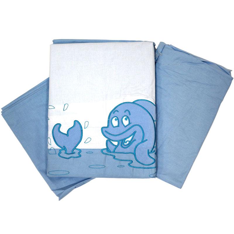 Топотушки Комплект детского постельного белья На волне цвет голубой 3 предмета531-105Сменный комплект постельного белья из 3 предметов для детской кроватки.Комплект создает для Вашего ребенка уют, комфорт и безопасную среду с рождения; современный дизайн и цветовые сочетания помогают ребенку адаптироваться в новом для него мире. Комплекты «Топотушки» хорошо вписываются в интерьер, как детской комнаты, так и в спальни родителей.Как и все изделия «Топотушки» данный комплект отражает самые последние технологии, является безопасным для малыша и экологичным. Российское происхождение комплекта гарантирует стабильно высокое качество, соответствие актуальным пожеланиям потребителей, конкурентоспособную цену.Наволочка 40х60см, пододеяльник 147х112см, простынь на резинке 120х60см