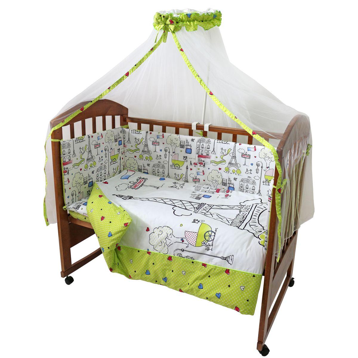 Топотушки Комплект детского постельного белья Париж цвет зеленый белый 7 предметов531-105Комплект постельного белья из 7 предметов включает все необходимые элементы для детской кроватки. Комплект создает для Вашего ребенка уют, комфорт и безопасную среду с рождения; современный дизайн и цветовые сочетания помогают ребенку адаптироваться в новом для него мире. Комплекты «Топотушки» хорошо вписываются в интерьер как детской комнаты, так и спальни родителей. Как и все изделия «Топотушки» данный комплект отражает самые последние технологии, является безопасным для малыша и экологичным. Российское происхождение комплекта гарантирует стабильно высокое качество, соответствие актуальным пожеланиям потребителей, конкурентоспособную цену.Балдахин 3м (сетка); охранный бампер 360х40см. (из 4-х частей, наполнитель – холлофайбер); подушка 40х60см. (наполнитель – холлофайбер); одеяло 140х110см. (наполнитель – холлофайбер); наволочка 40х60см; пододеяльник 147х112см; простынь на резинке 120х60см