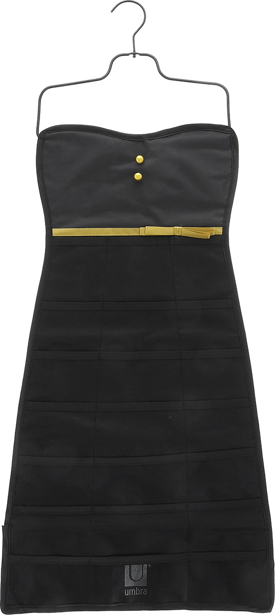 Органайзер для украшений Umbra Bow Dress, цвет: черный, 34 см х 78,7 смRG-D31SОрганайзер для украшений Umbra Bow Dress изготовлен из полиэстера. Изделие имеет 21 сетчатый карман, на оборотной стороне - 19 петель для бус, цепочек, браслетов, часов и массивных сережек. Металлический крючок позволит повесить органайзер в любом понравившемся вам месте. Органайзер поможет аккуратно хранить украшения, держать их в порядке, и вы никогда их не потеряете.Средний размер кармана: 8,5 см х 6 см.
