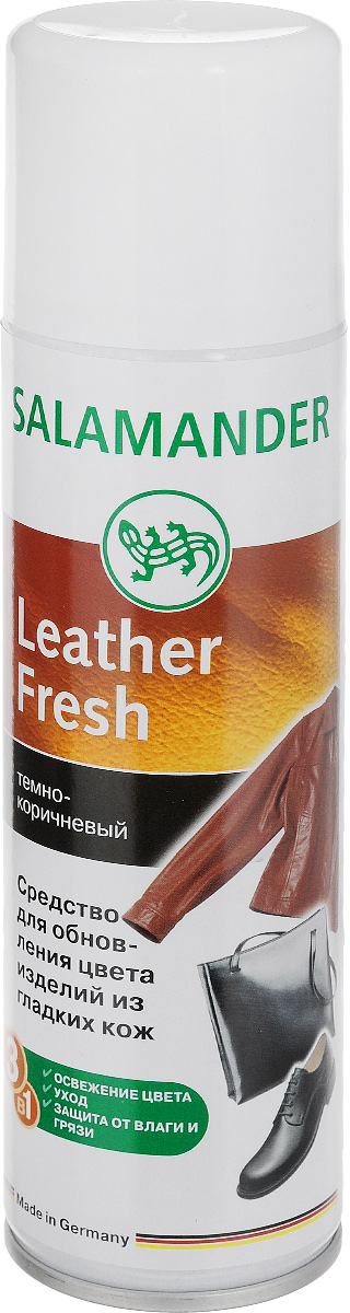 Средство для изделий из гладких кож Salamander Leather Fresh, 250 млIRK-503Средство для изделий из гладких кож Salamander Leather Fresh - это высококачественная краска-восстановитель цвета. Подходит для всех видов гладкой кожи. Освежает цвет изделия, закрашивает потертости и придает блеск. Пропитывает и защищает от влаги и глубоких загрязнений. Не пригодно для замшевых кож. Выпускается в форме аэрозоли. Состав: >30% алифатические углеводороды (алкалы/циклоалкалы/бутан/пропан), изопропиловый спирт, синтетические смолы, этилацетат, ланолин, воски, силиконовое масло, красители. Товар сертифицирован.