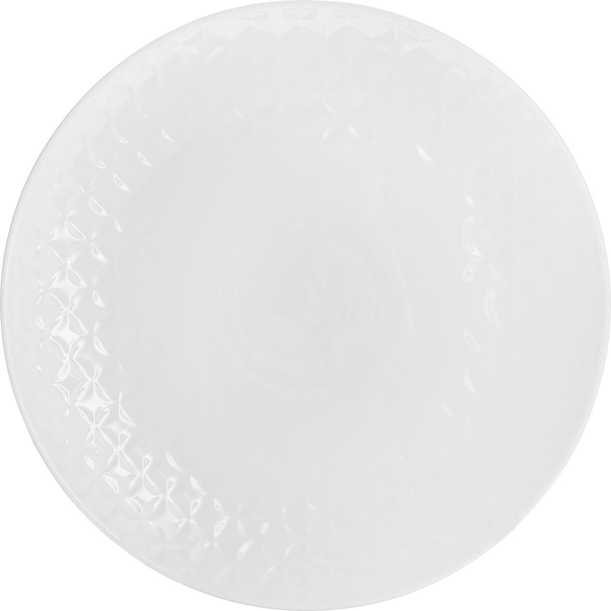 Тарелка обеденная Walmer Quincy, диаметр 26 смW07530026Обеденная тарелка Walmer Quincy изготовлена из высококачественного фарфора и декорирована изысканным рельефом. Такая тарелка стильно дополнит сервировку стола и станет полезным приобретением для вашей кухни. Можно мыть в посудомоечной машине и использовать в СВЧ.