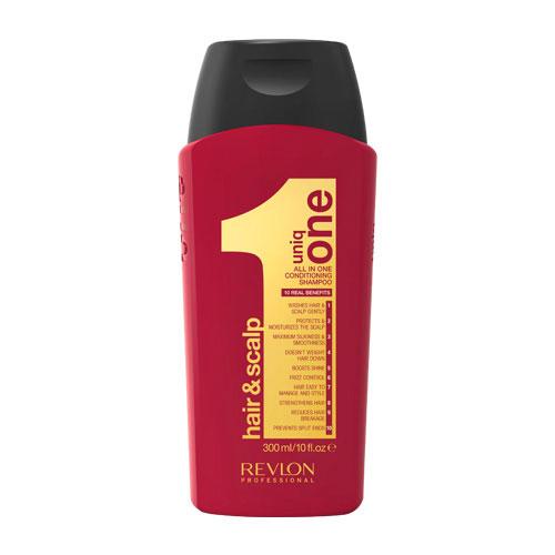 Uniq One Шампунь-кондиционер для волос, 300 мл7208745000Uniq One Conditioning Shampoo Шампунь-кондиционер - уникальное средство сочетает в себе сразу 10 главных свойств, благодаря которым волосы за минимальное время станут невероятно сильными и здоровыми. Средство оказывает очищающий, увлажняющий и кондиционирующий уход не только на волосы, но и на кожу головы. При регулярном применении шампуня-кондиционера Uniq One волосы становятся невероятно мягкими и шелковистыми, приобретают великолепный здоровый блеск и восхитительное сияние. При использовании средства устраняется пушистость волос, их спутывание, облегчается расчёсывание. Позади остаётся и проблема секущихся кончиков. Волосы становятся крепкими, сильными и защищёнными от воздействия окружающей среды.Шампунь-кондиционер гарантирует получение максимального эффекта при минимальных усилиях и за короткое время.